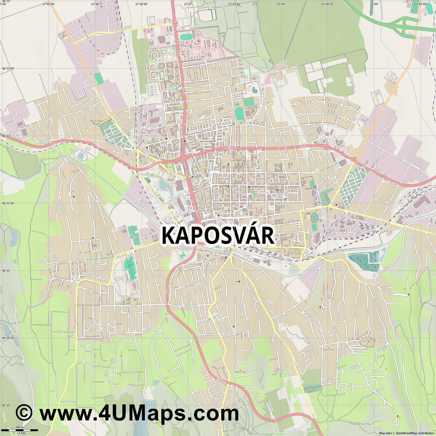 Kaposvár Kopisch  jpg ultra high detail preview vector city map
