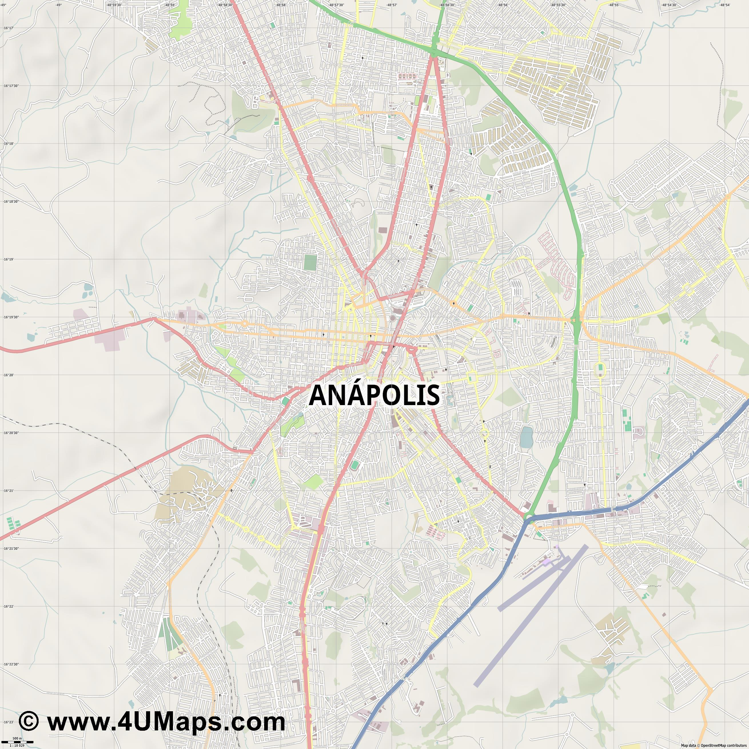 Anápolis  jpg ultra high detail preview vector city map