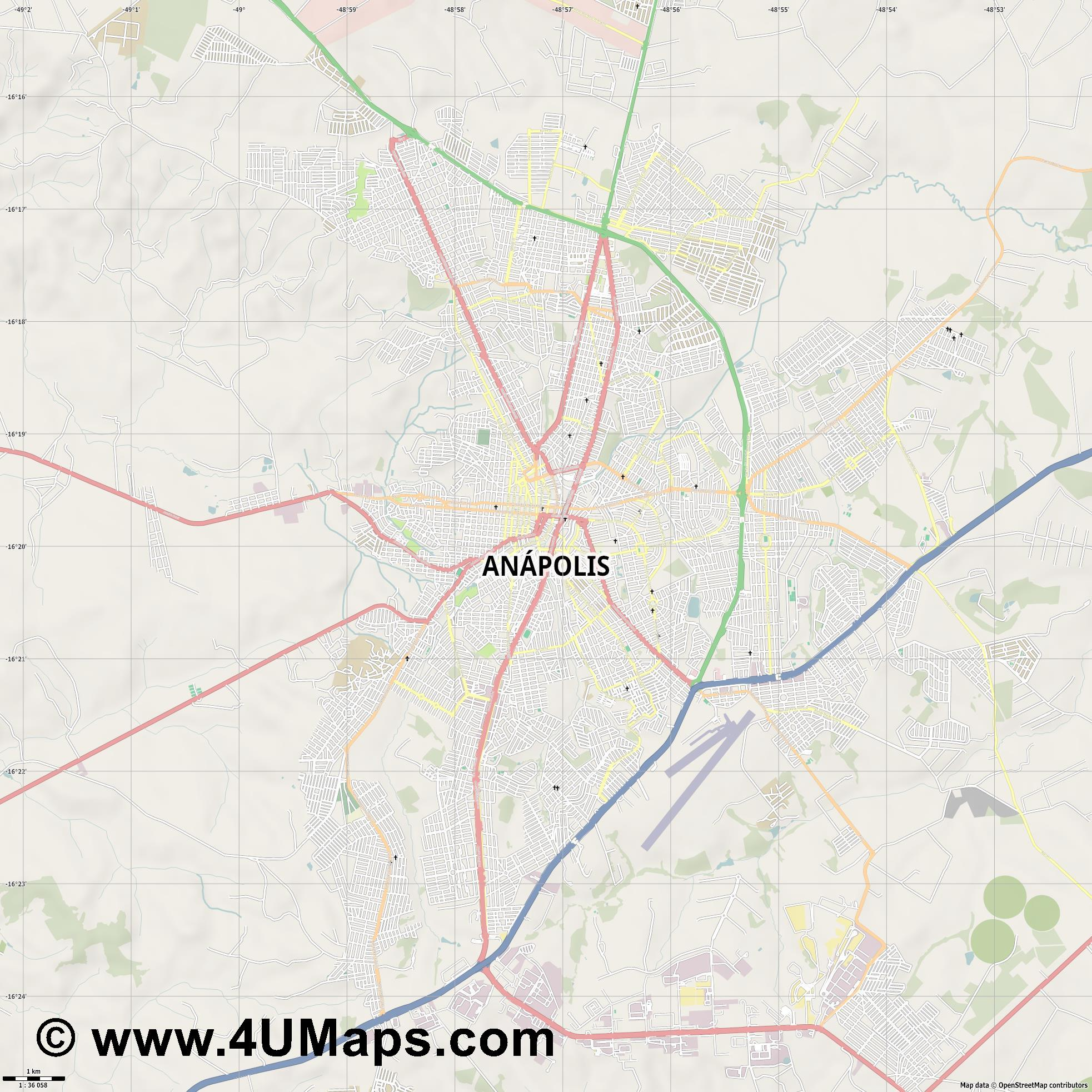 Anápolis  jpg high detail, large area preview vector city map