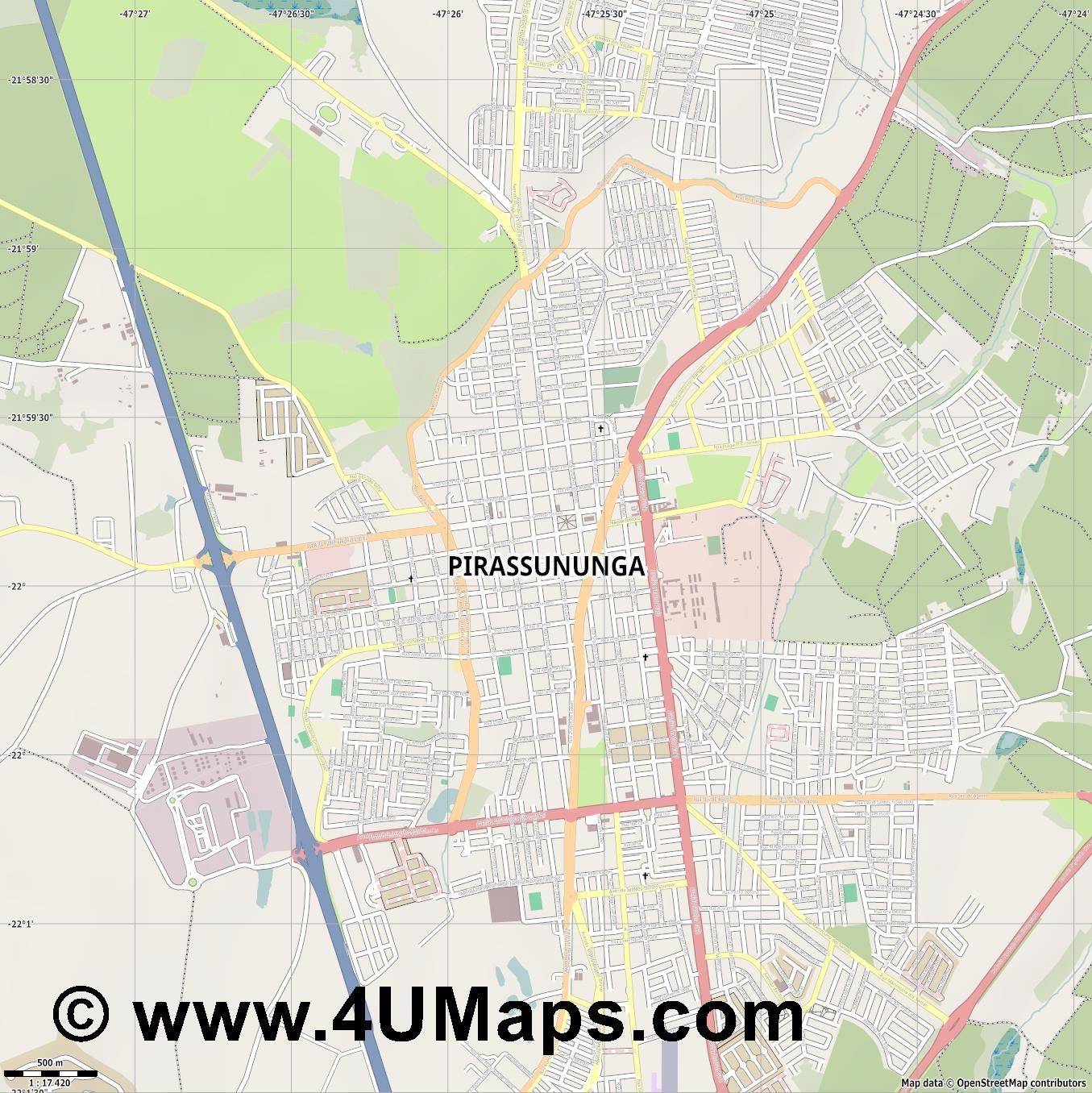 Pirassununga  jpg ultra high detail preview vector city map