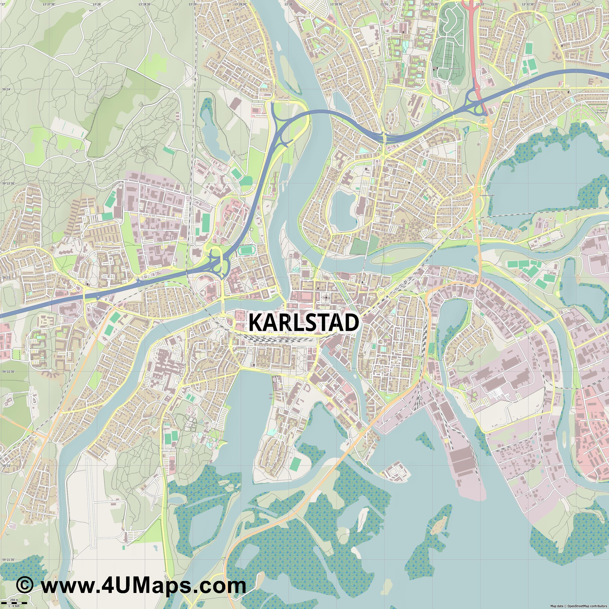 Karlstad  jpg ultra high detail preview vector city map