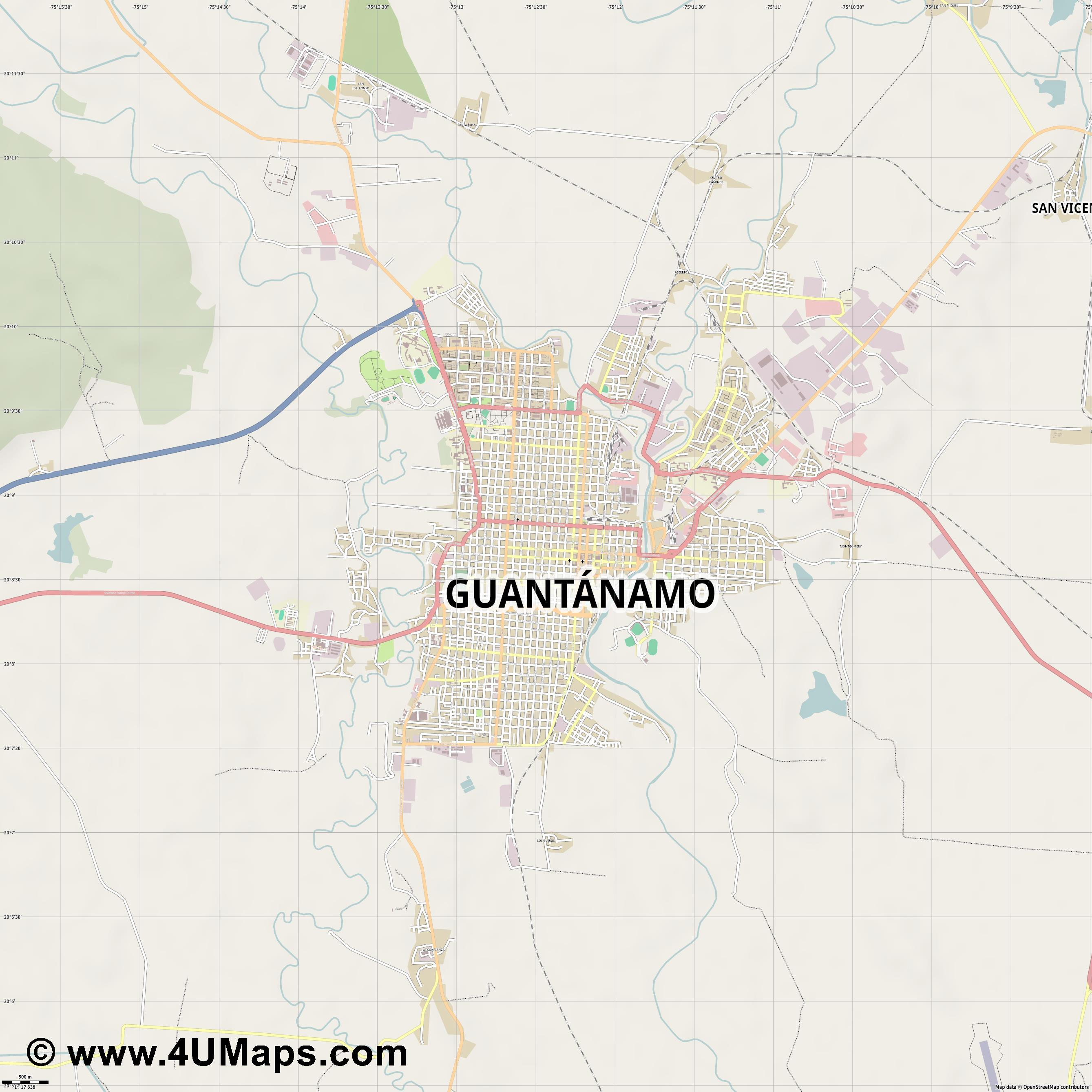 Guantánamo  jpg ultra high detail preview vector city map