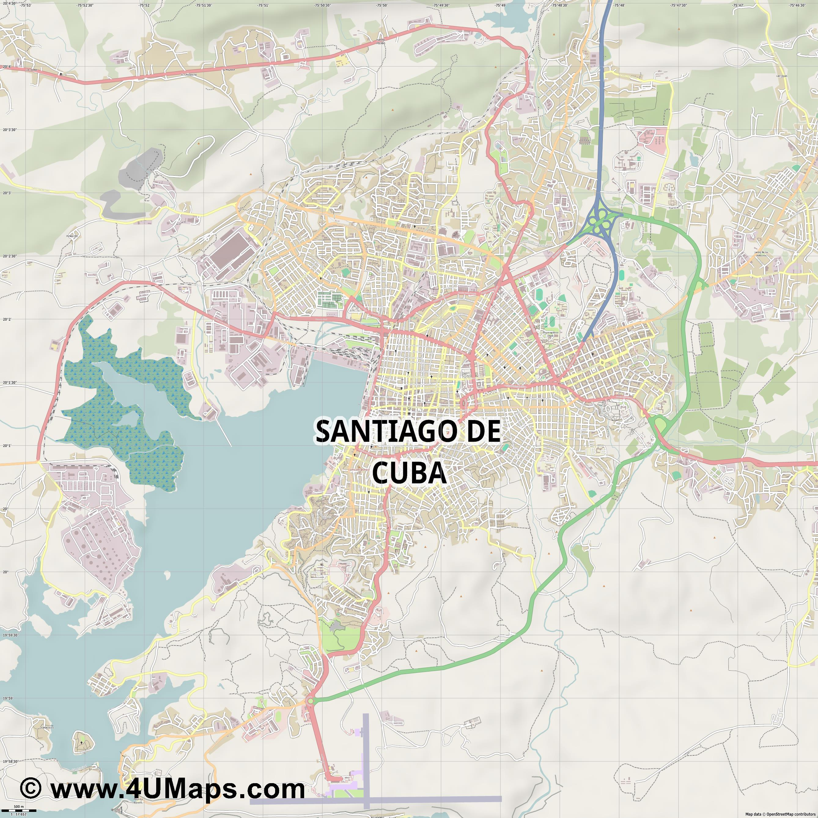 Santiago de Cuba  jpg ultra high detail preview vector city map