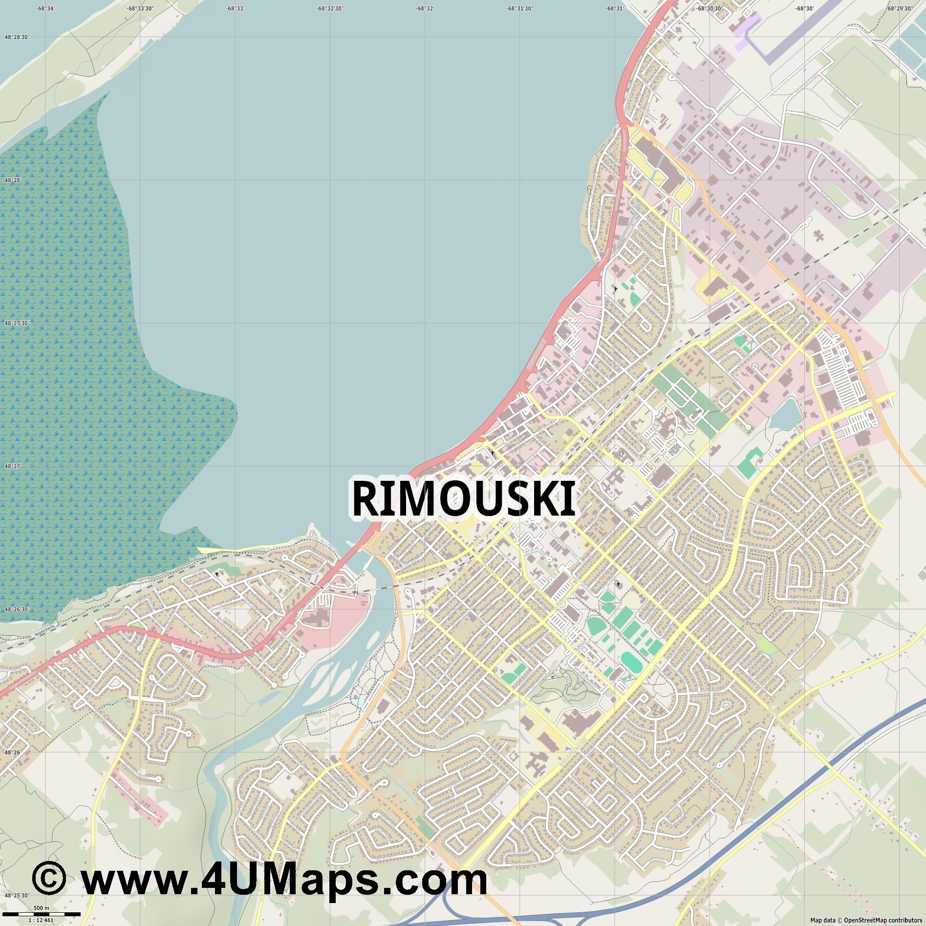 Rimouski  jpg ultra high detail preview vector city map