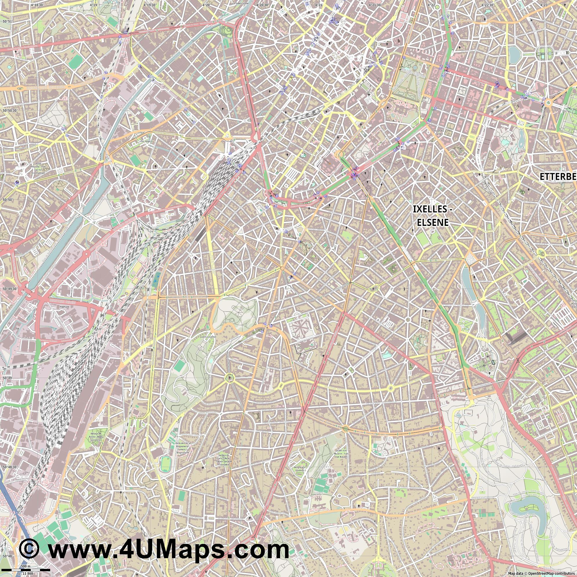 Saint Gilles   Sint Gillis  jpg ultra high detail preview vector city map