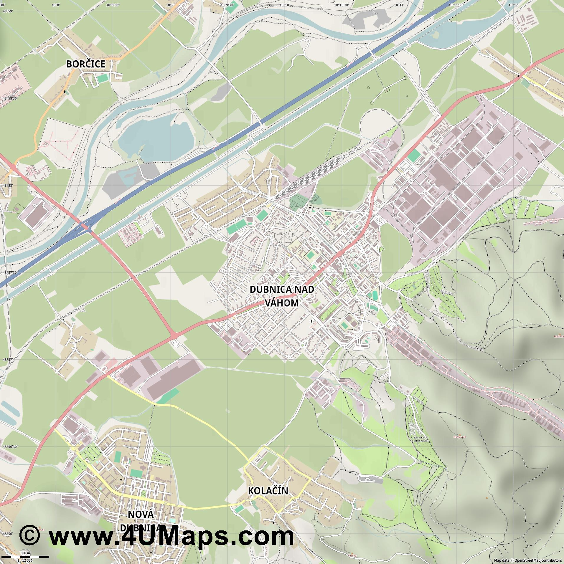 Dubnica nad Váhom Dubnitz an der Waag  jpg ultra high detail preview vector city map