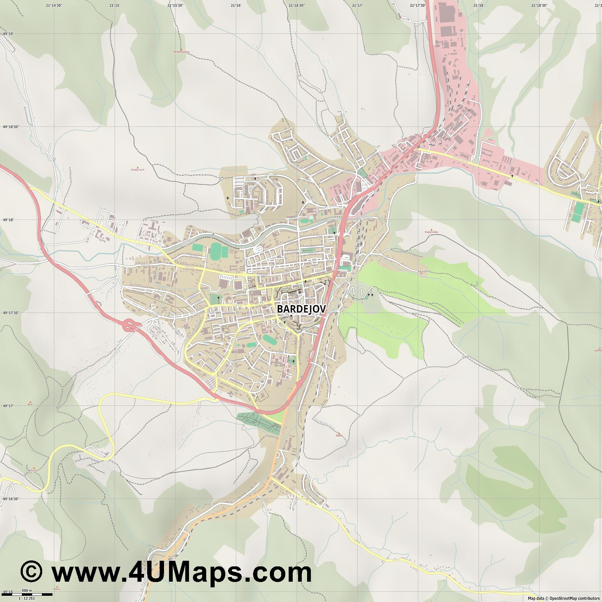Bardejov Bartfeld  jpg ultra high detail preview vector city map