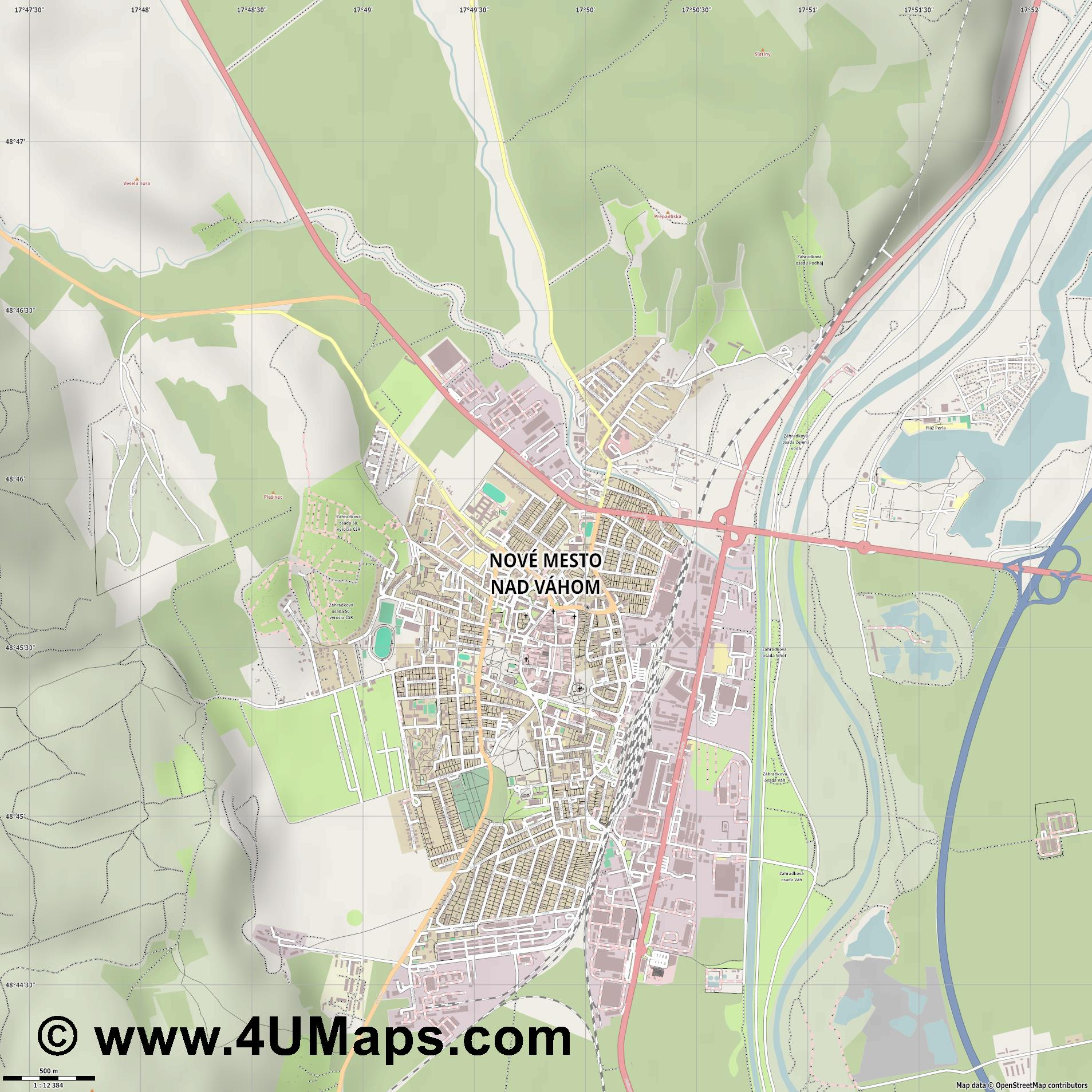Nové Mesto nad Váhom Neustadt an der Waag  jpg ultra high detail preview vector city map
