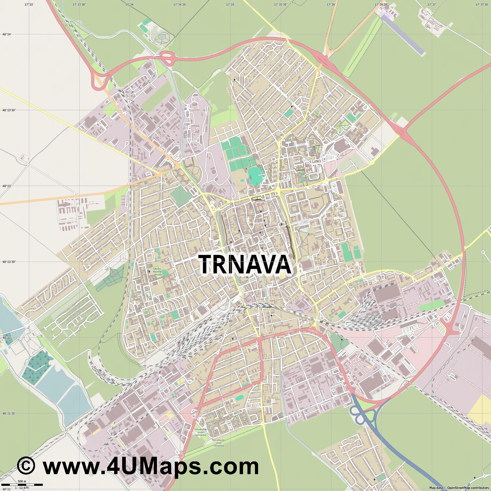 Trnava Tyrnau  jpg ultra high detail preview vector city map