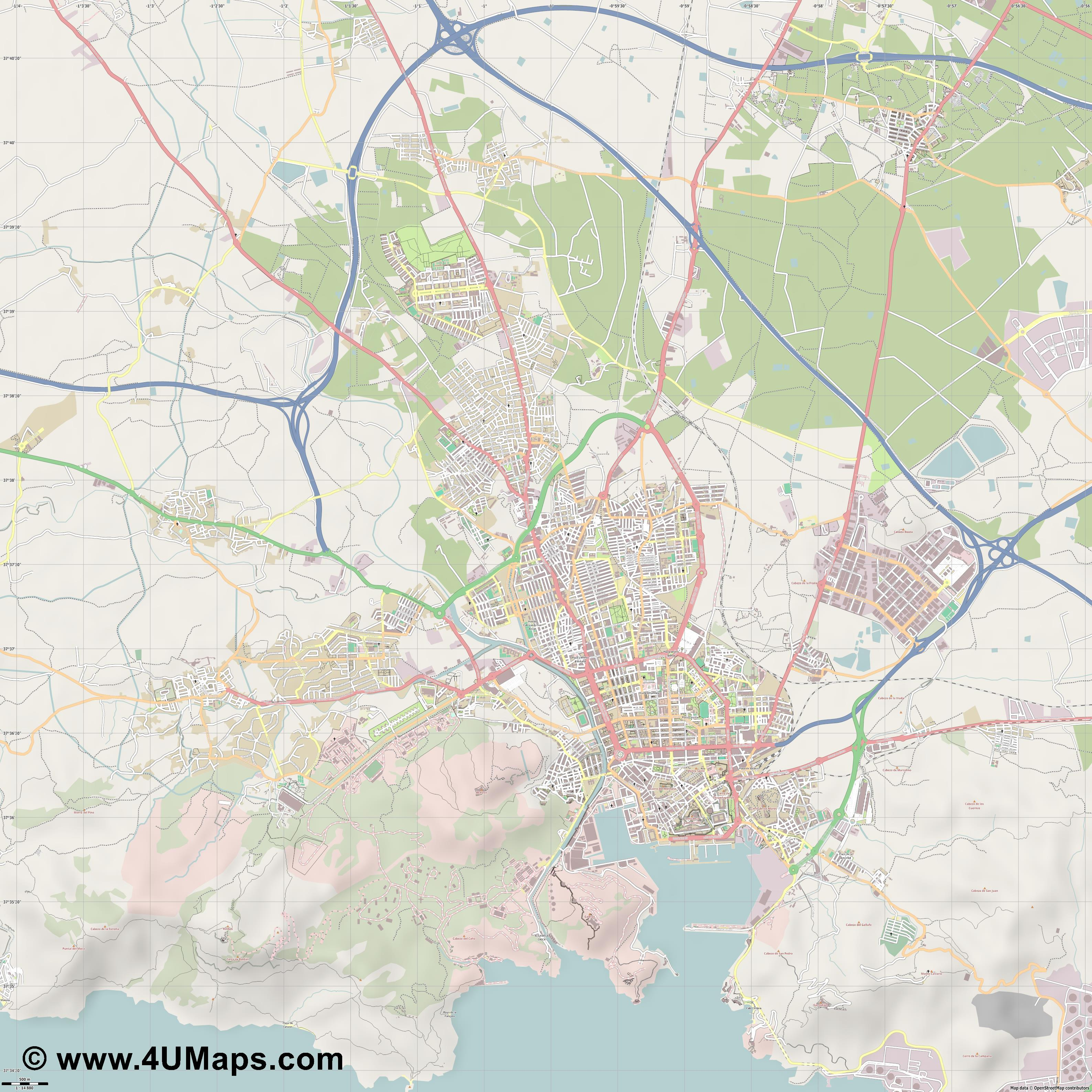 Cartagena Carthagène  jpg ultra high detail preview vector city map