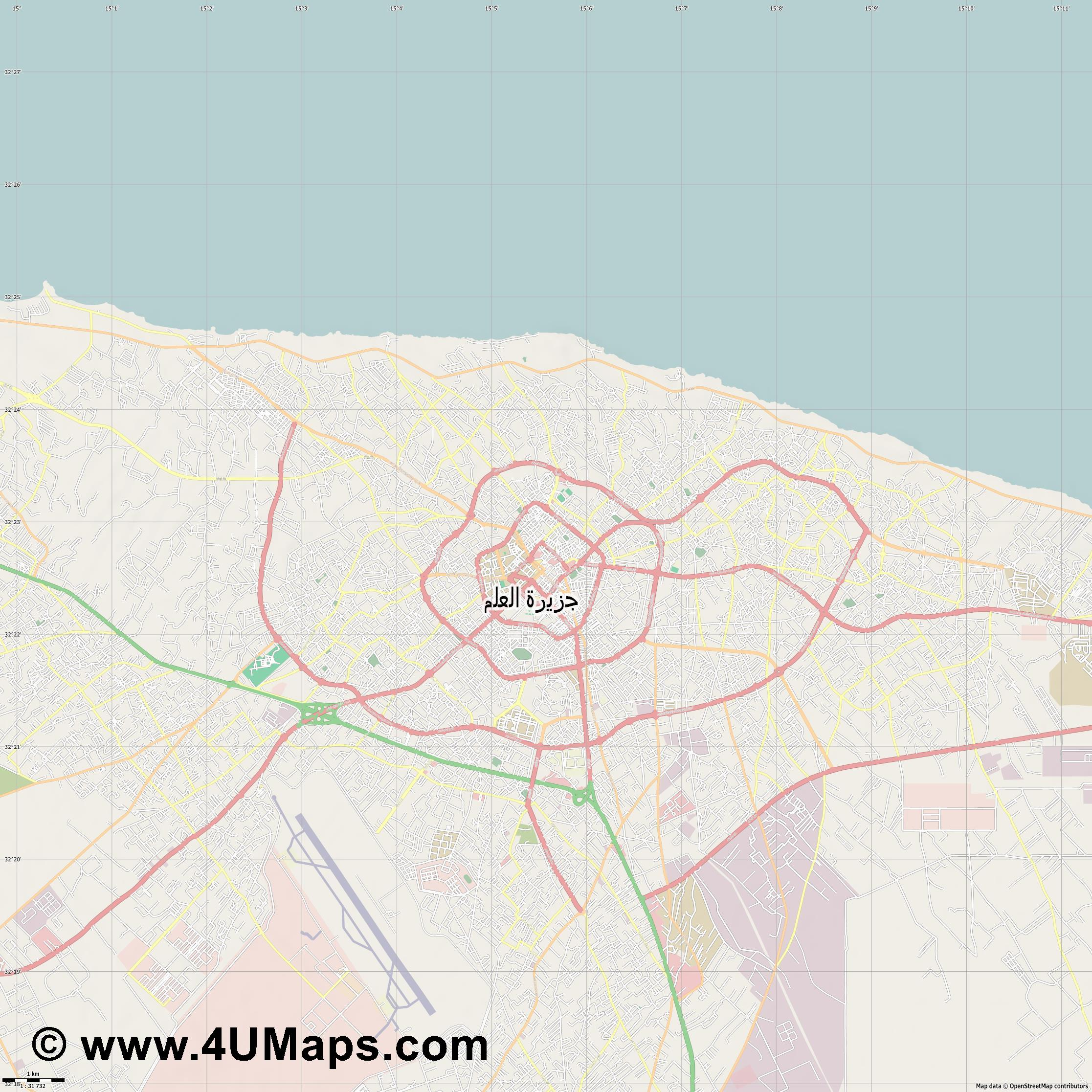 مصراتة Misrata Misurata  jpg high detail, large area preview vector city map