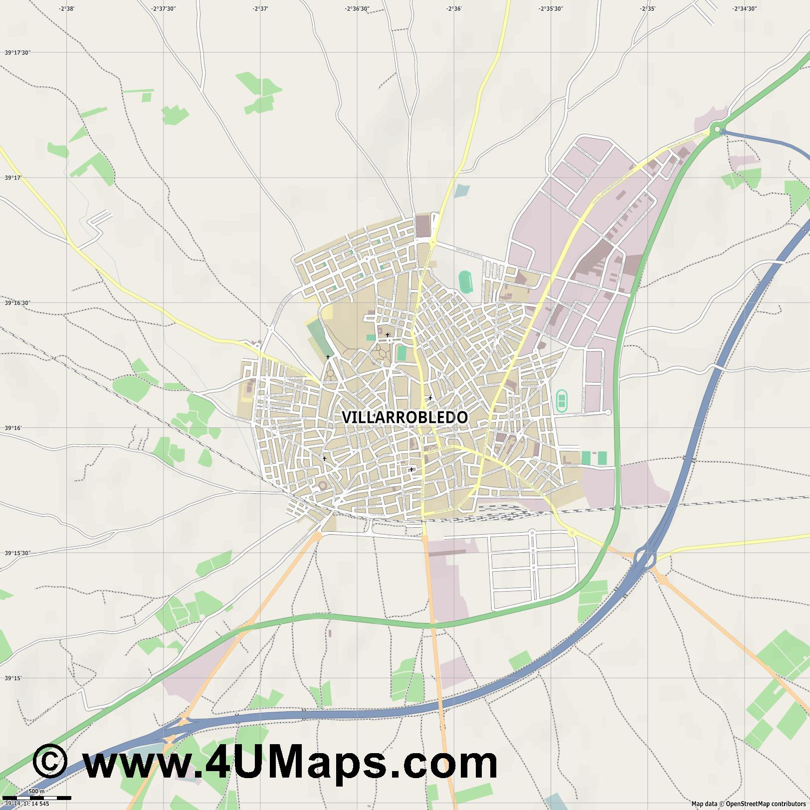 Villarrobledo  jpg ultra high detail preview vector city map