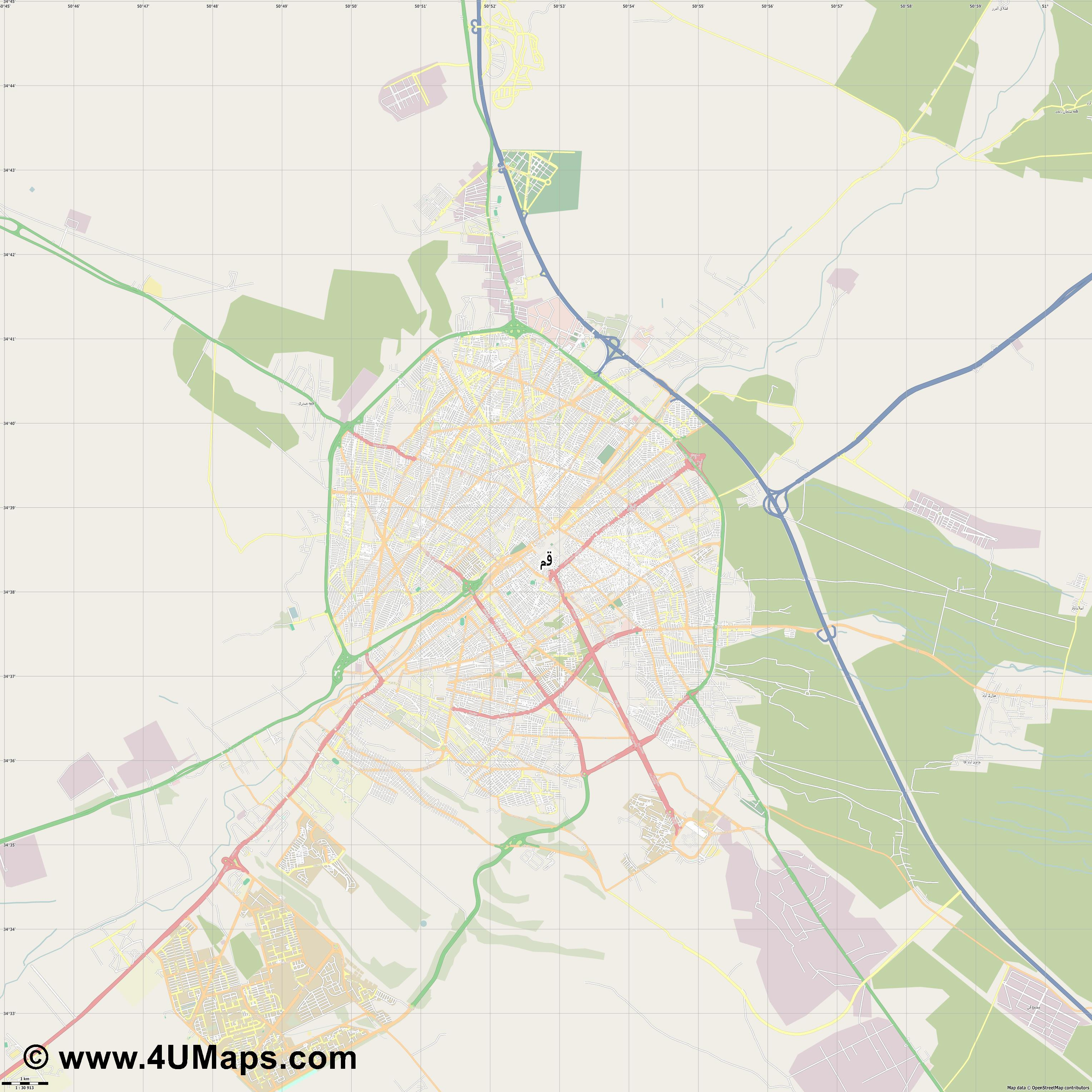 قم  Qom  jpg high detail, large area preview vector city map