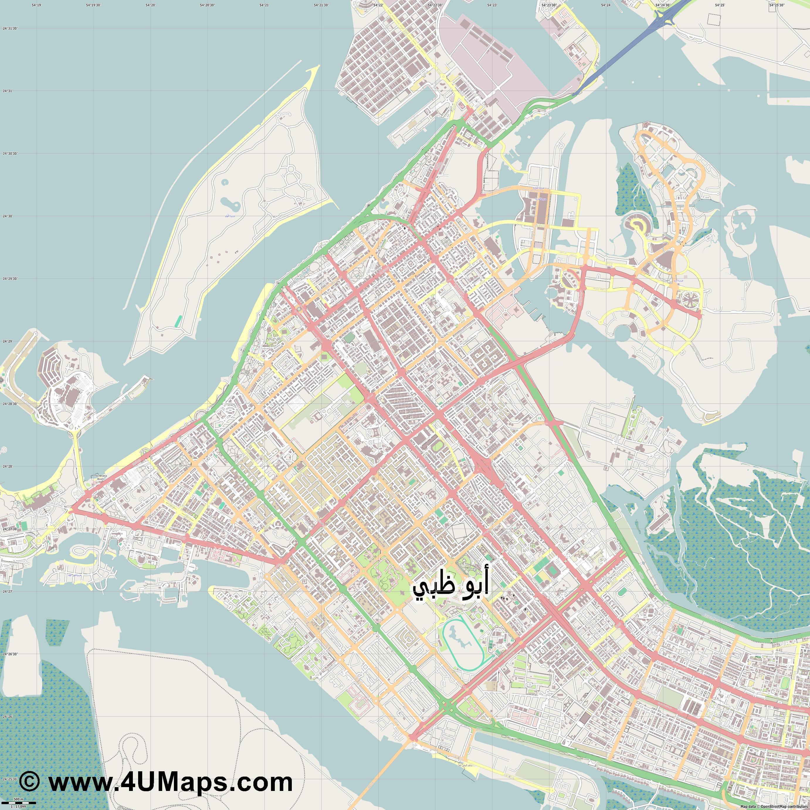 PDF Svg Scalable Vector City Map Abu Dhabi