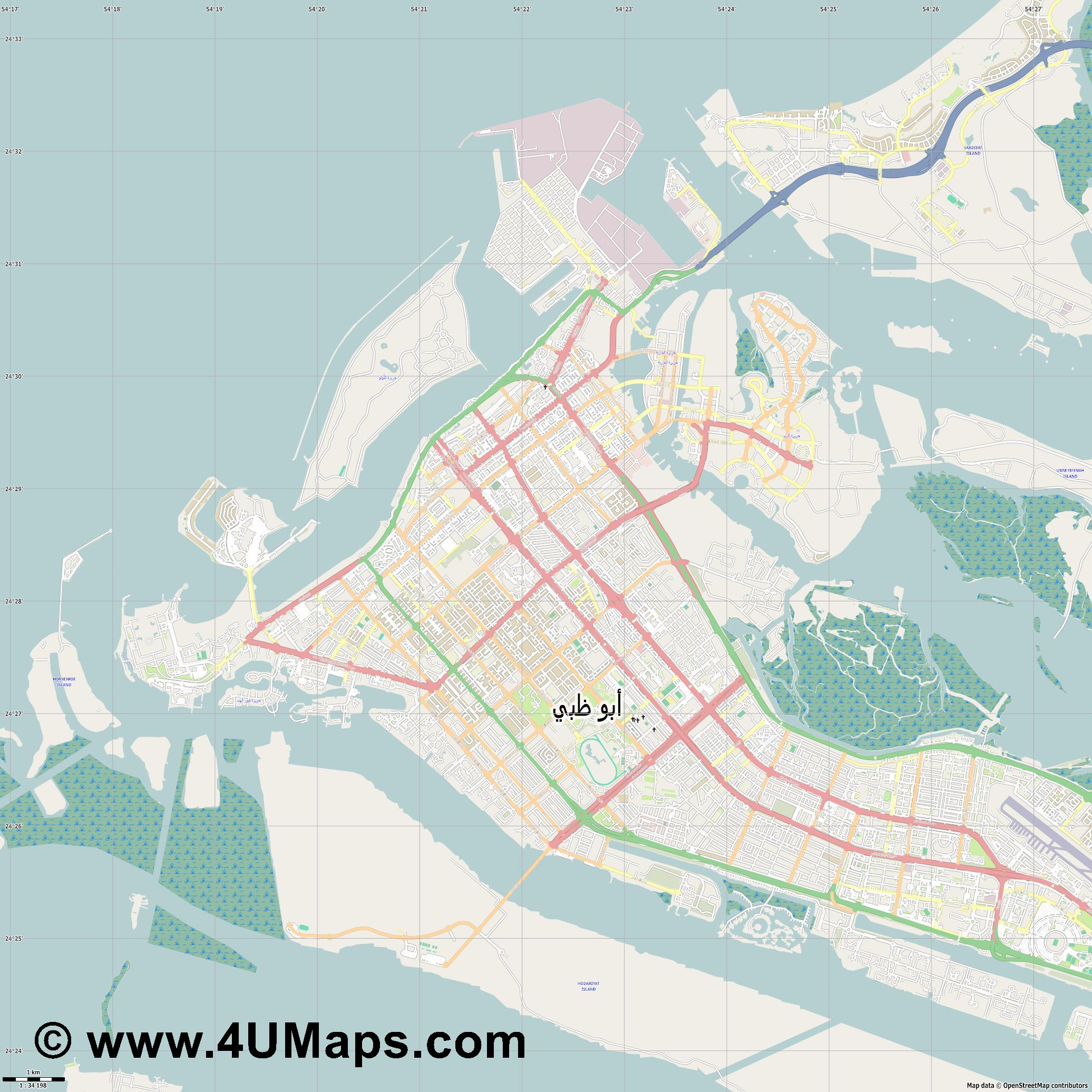 PDF, Svg Scalable Vector City Map Abu Dhabi