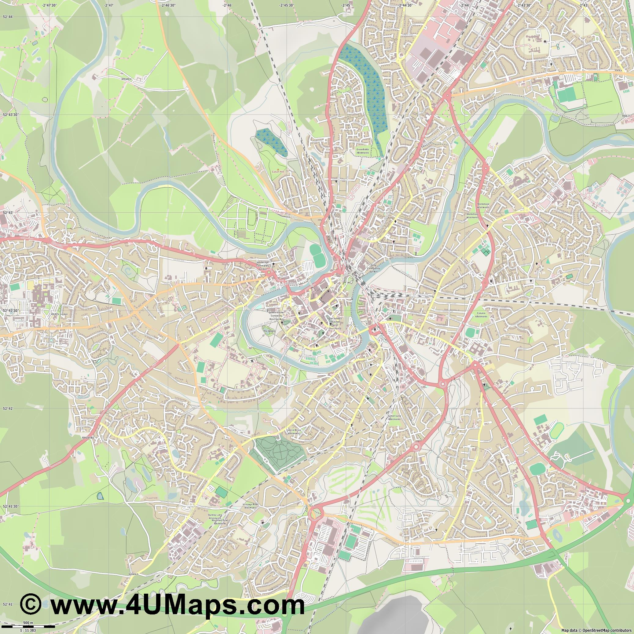 Shrewsbury  jpg ultra high detail preview vector city map
