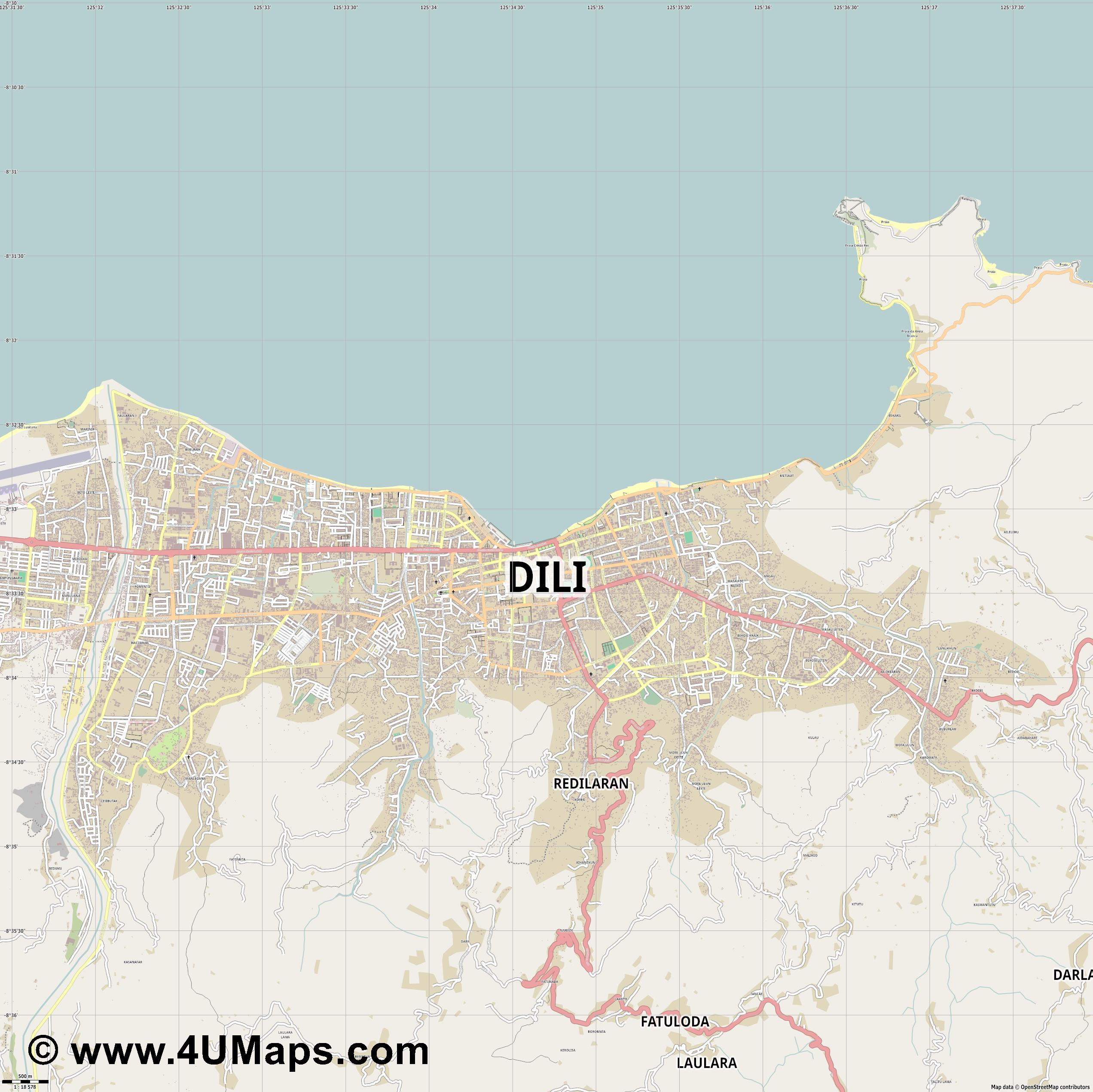 Dili  jpg ultra high detail preview vector city map