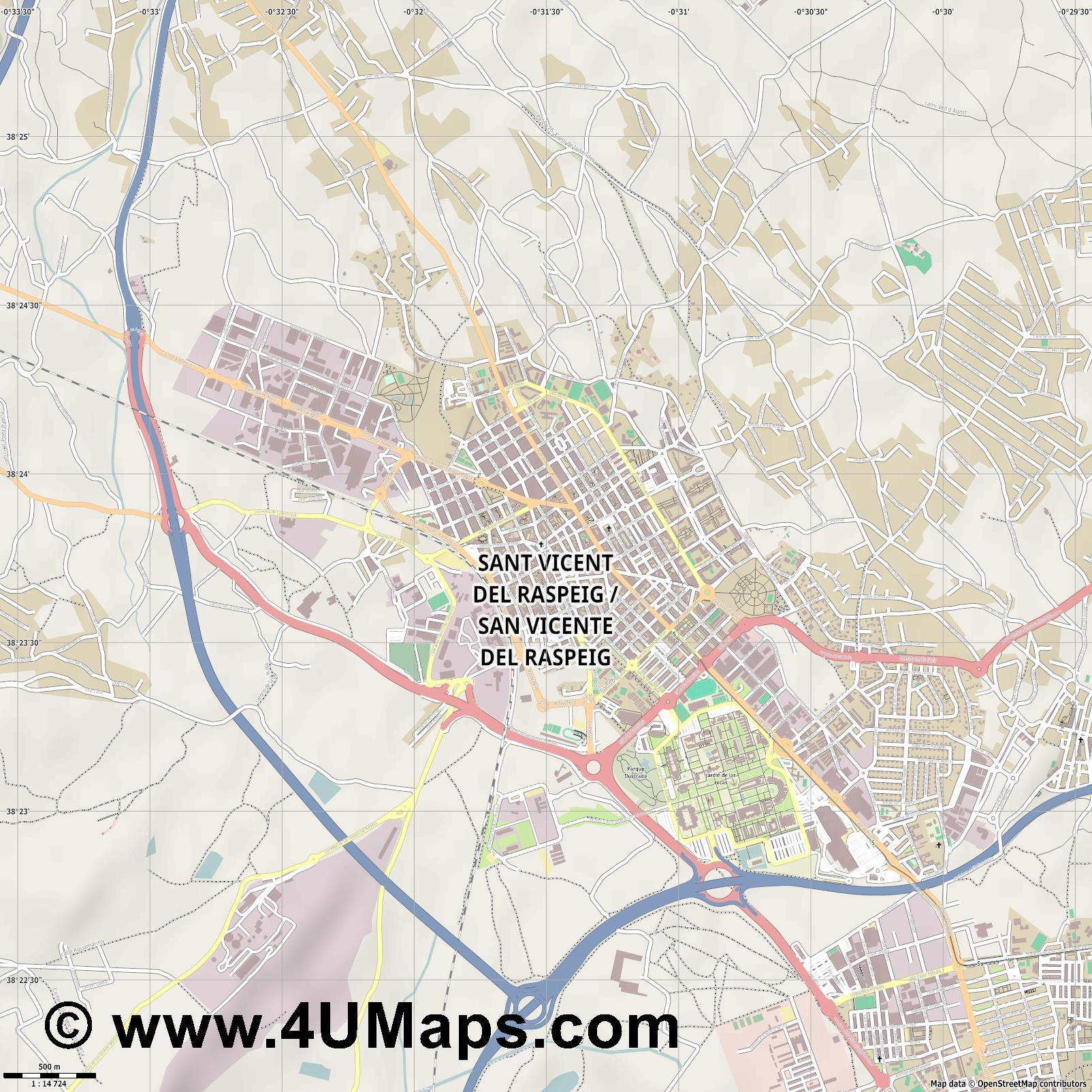 San Vicente del Raspeig Sant Vicent del Raspeig  jpg ultra high detail preview vector city map