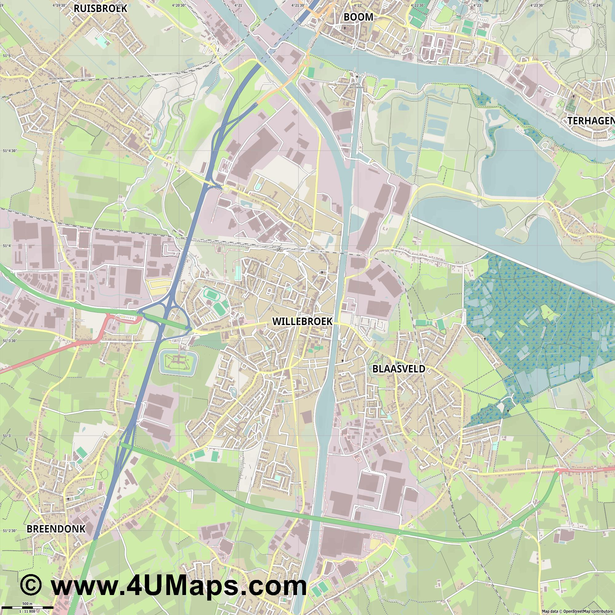 Willebroek  jpg ultra high detail preview vector city map
