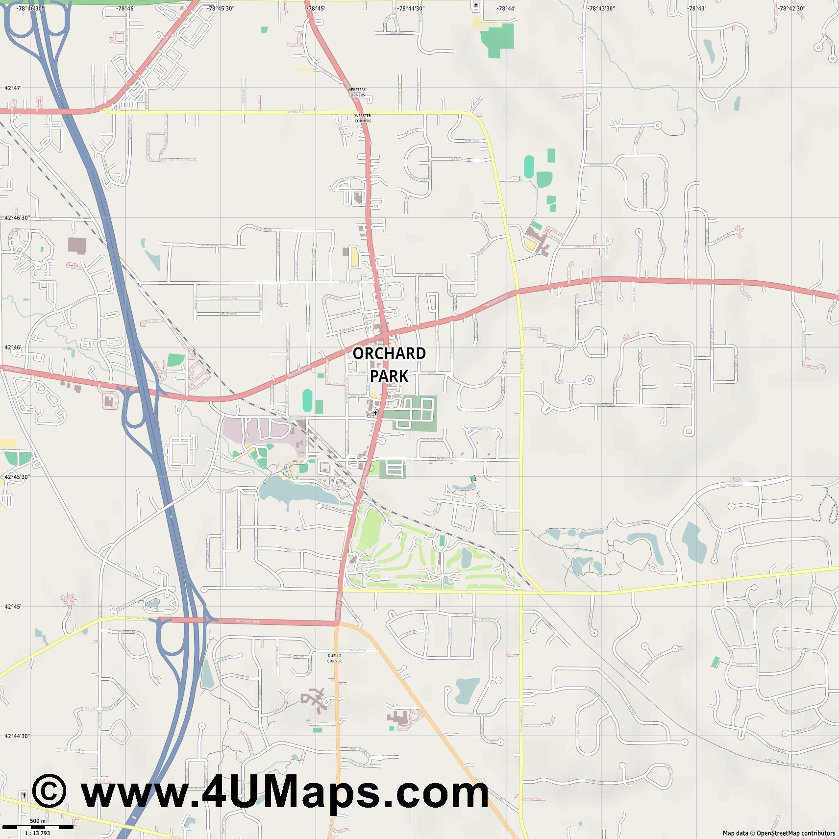 Orchard Park  Town   jpg ultra high detail preview vector city map