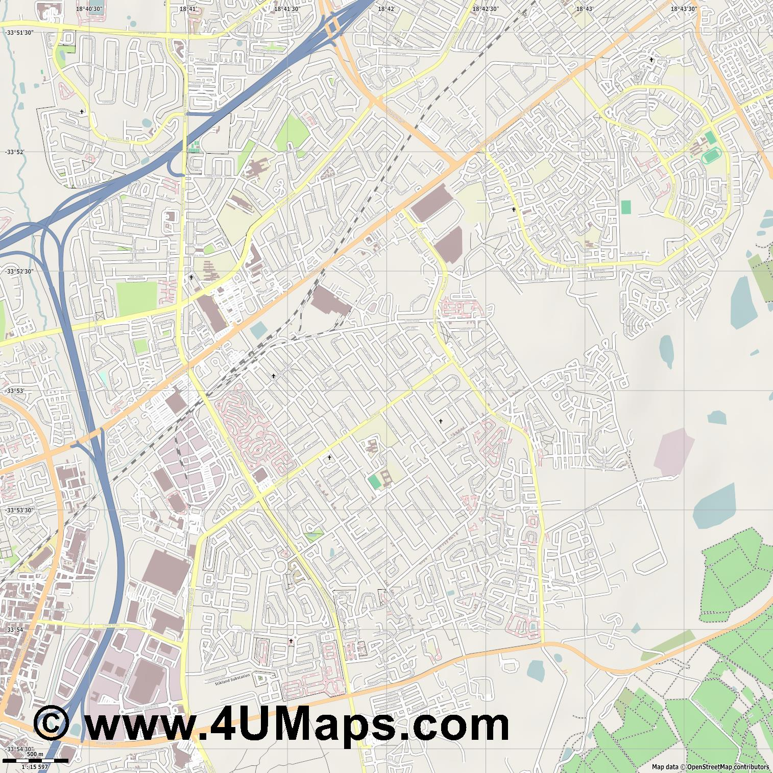 Brackenfell  jpg ultra high detail preview vector city map