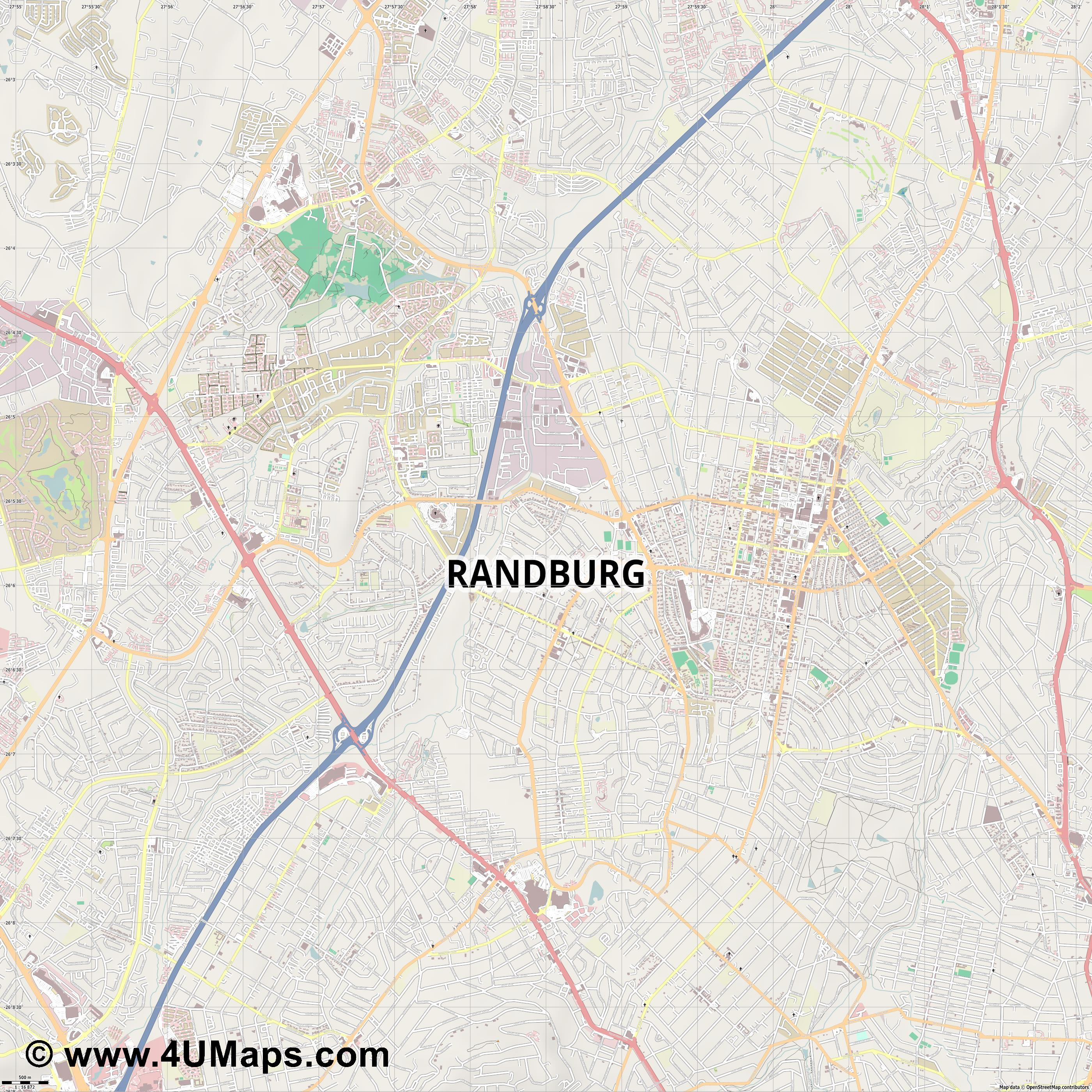 Randburg  jpg ultra high detail preview vector city map