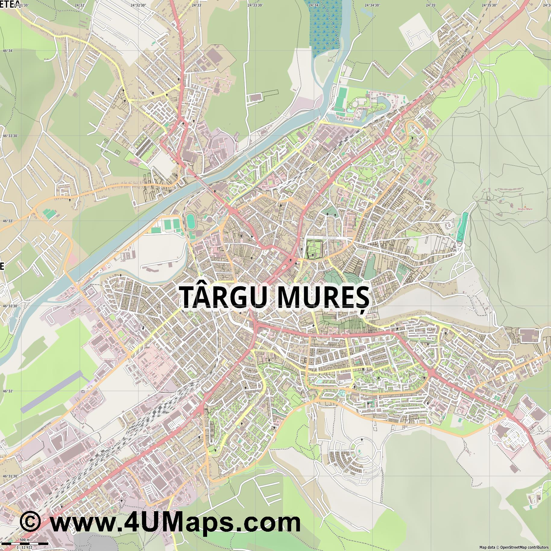 Târgu Mureș Neumarkt am Mieresch  jpg ultra high detail preview vector city map