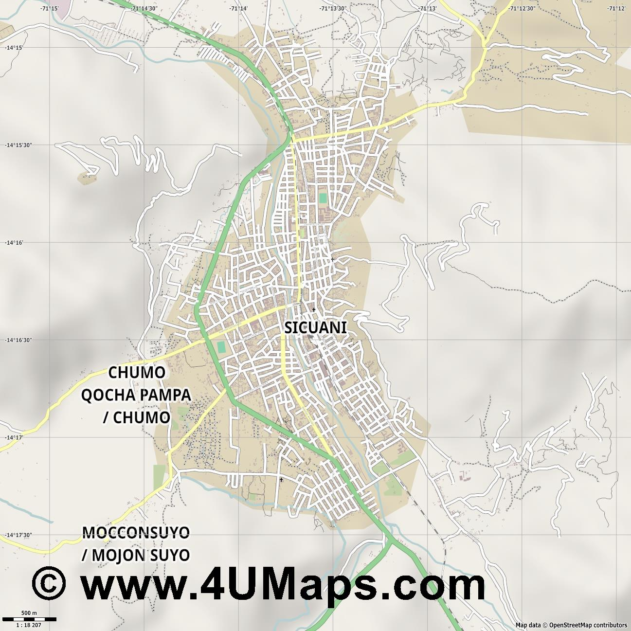Sicuani  jpg ultra high detail preview vector city map