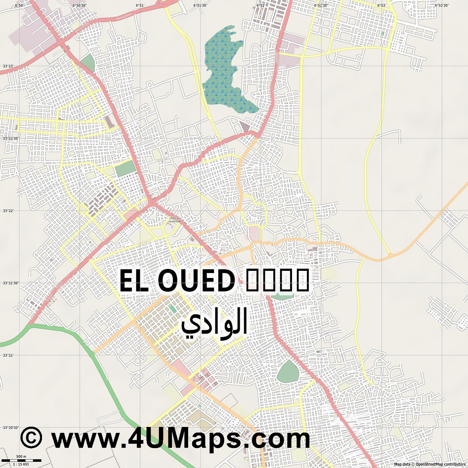 El Oued الواد  jpg ultra high detail preview vector city map