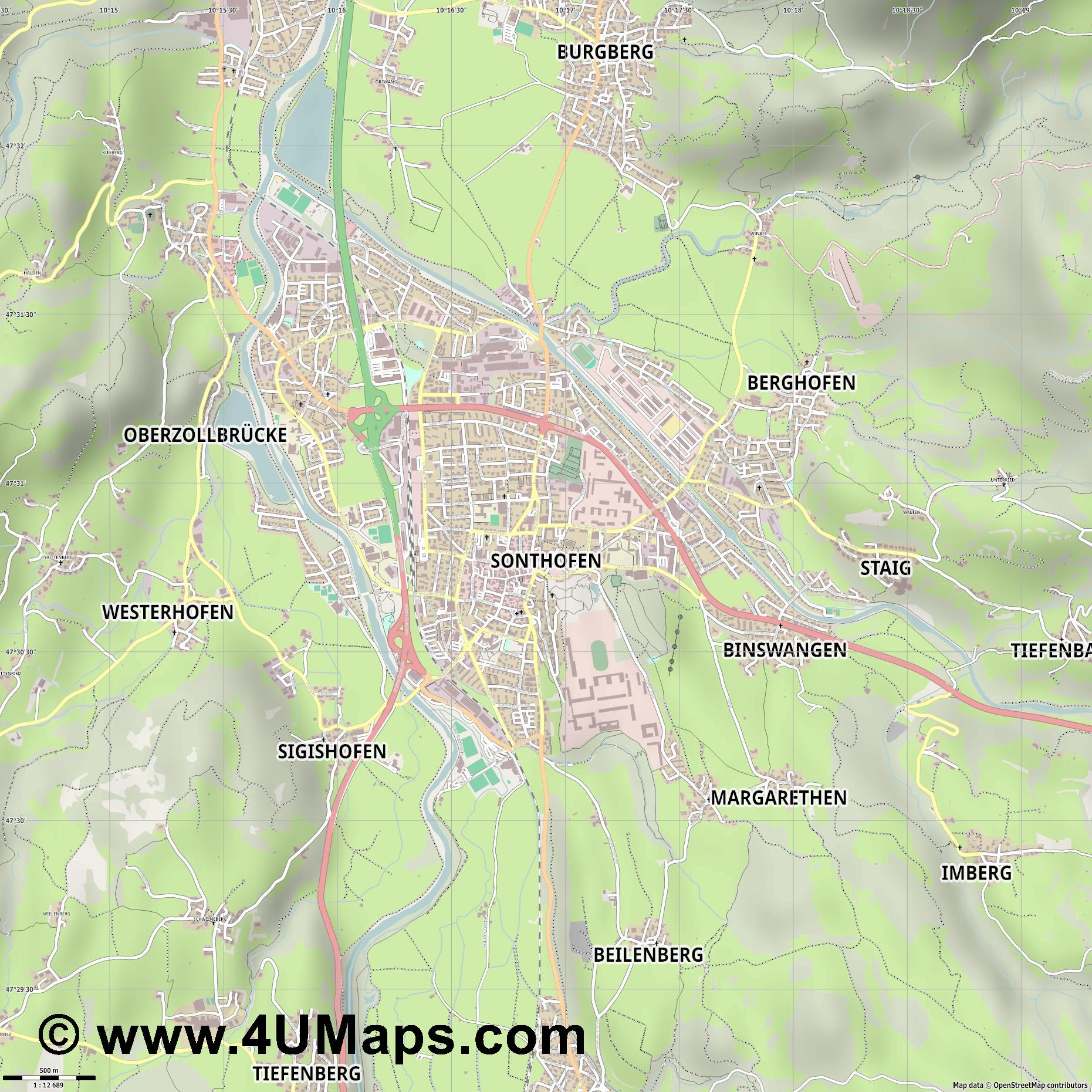 Sonthofen  jpg ultra high detail preview vector city map