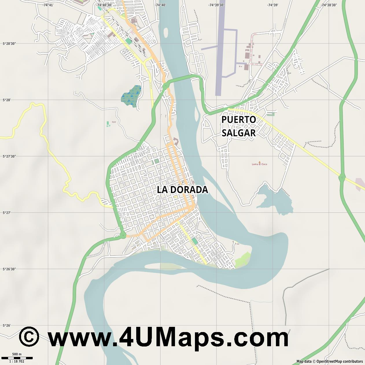 La Dorada  jpg ultra high detail preview vector city map