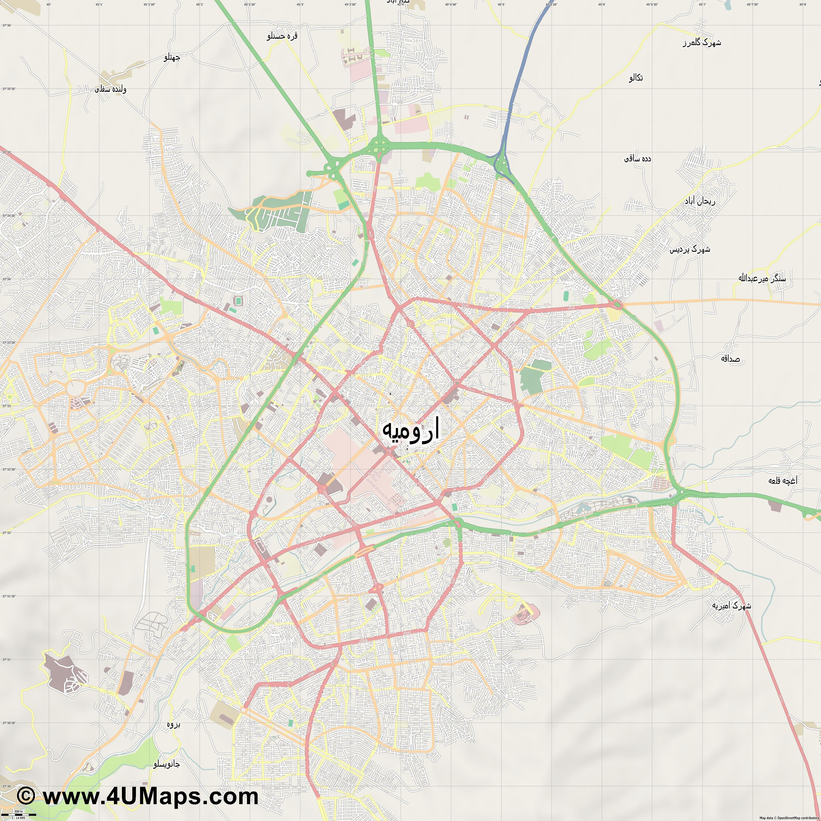 اروميه Urmia Orumie  jpg ultra high detail preview vector city map