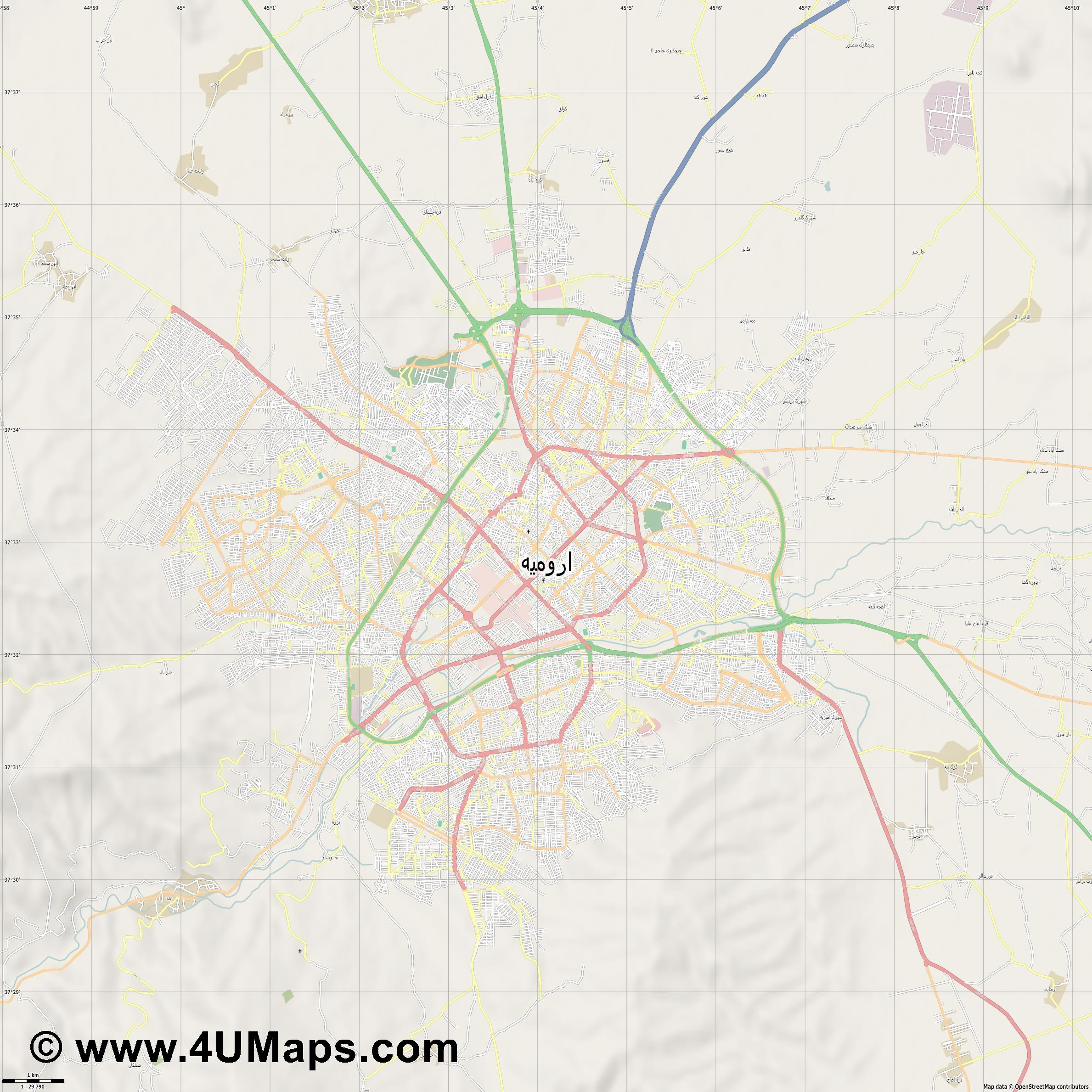 اروميه Urmia Orumie  jpg high detail, large area preview vector city map