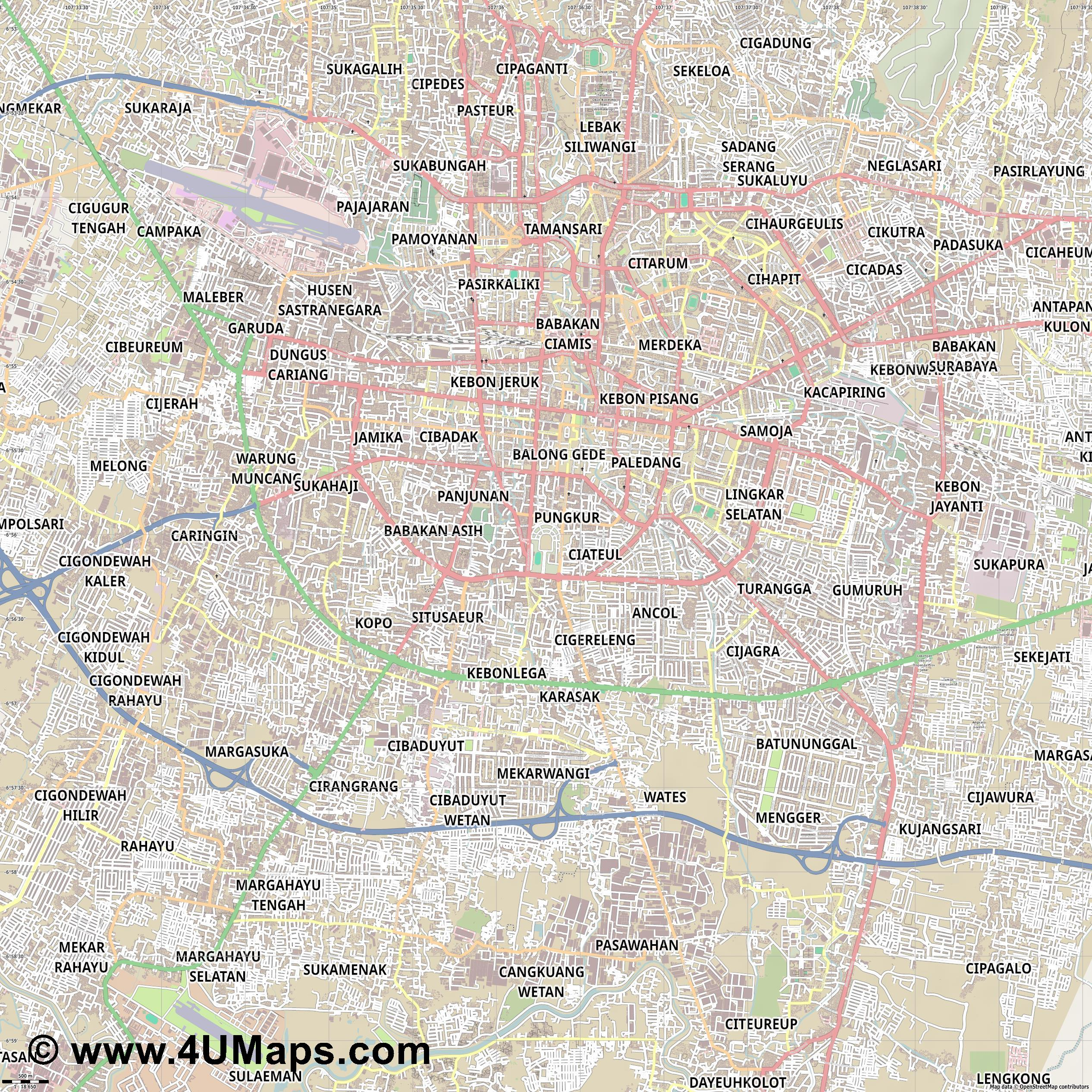 Bandung  jpg ultra high detail preview vector city map