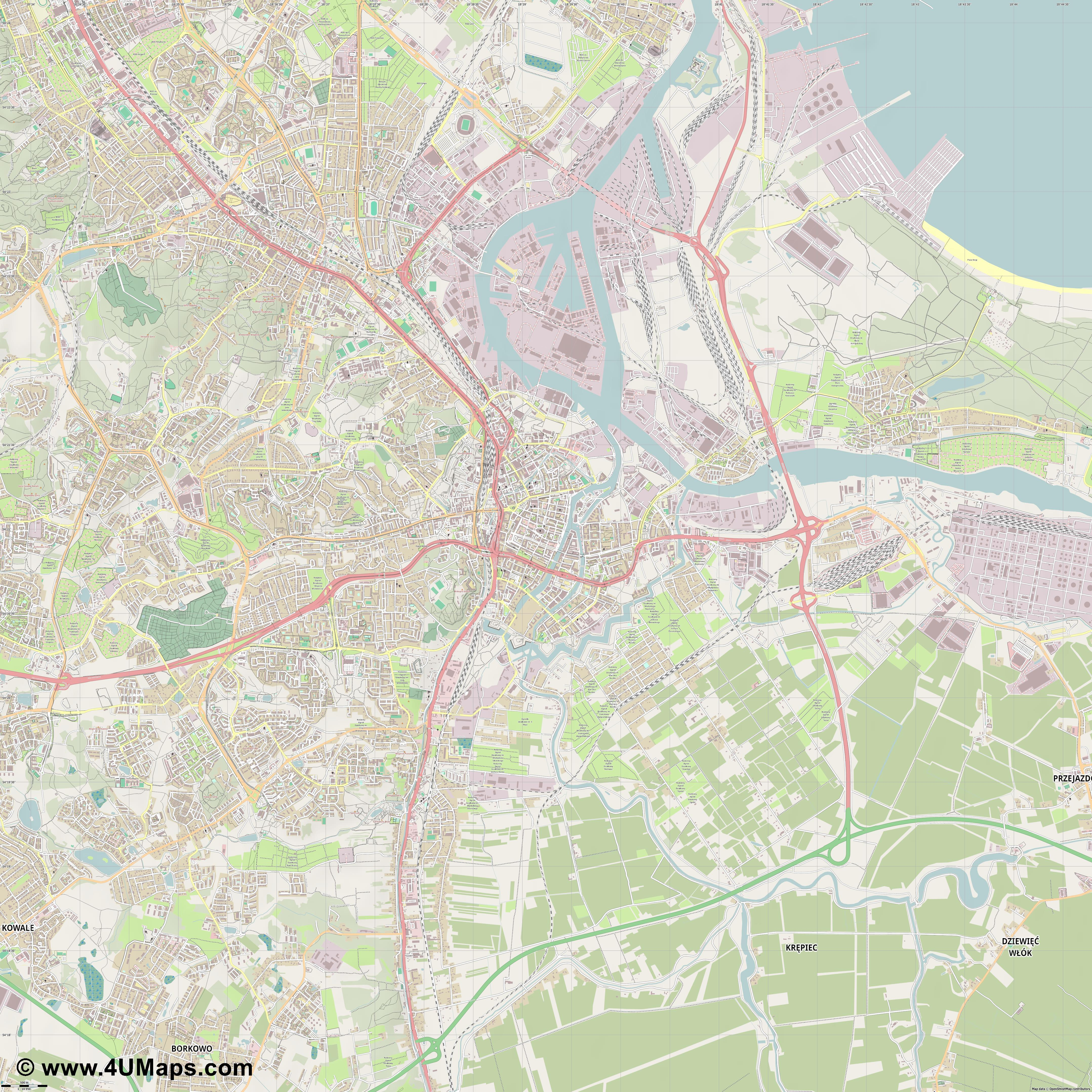 Gdańsk Danzica Danzig  jpg ultra high detail preview vector city map