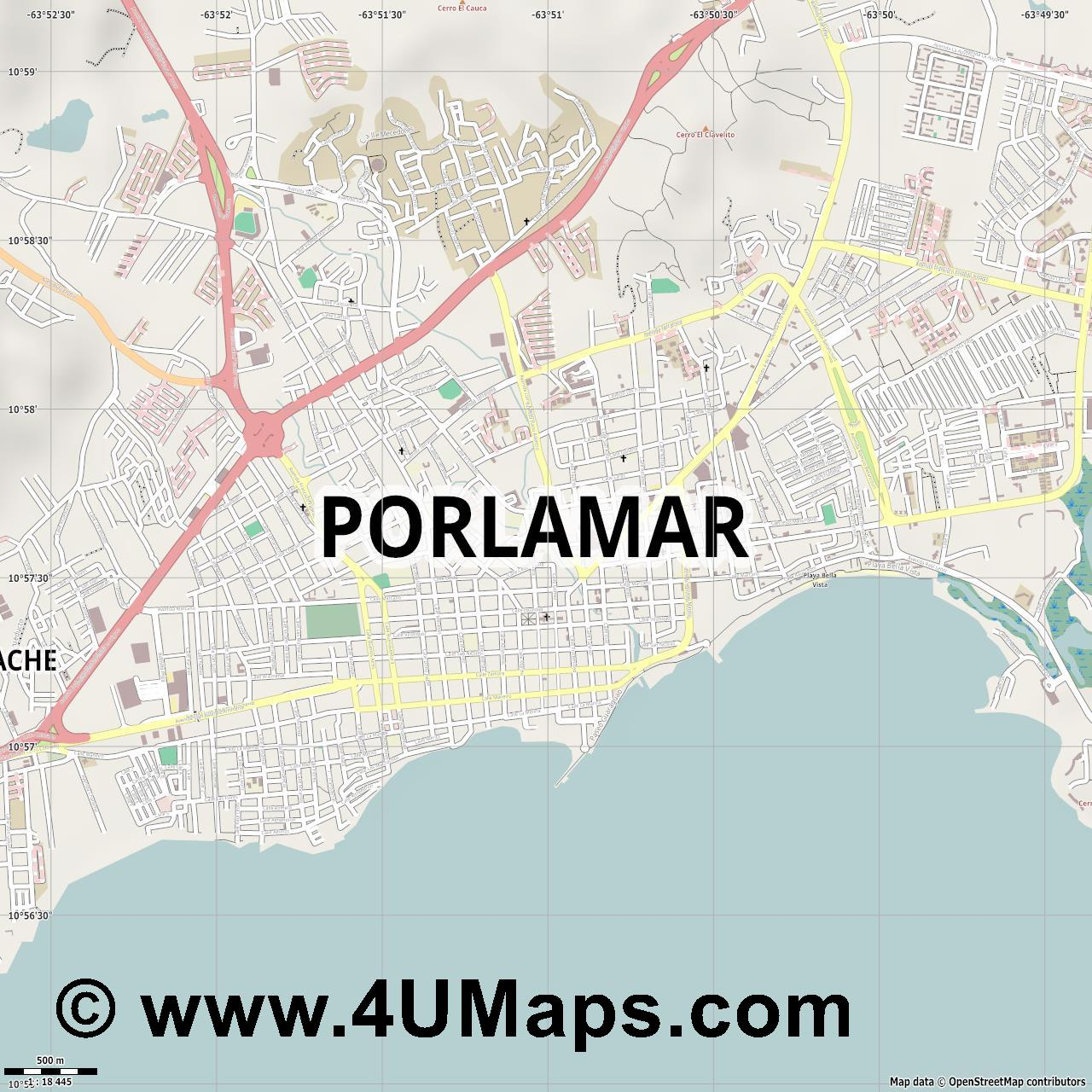 Porlamar  jpg ultra high detail preview vector city map