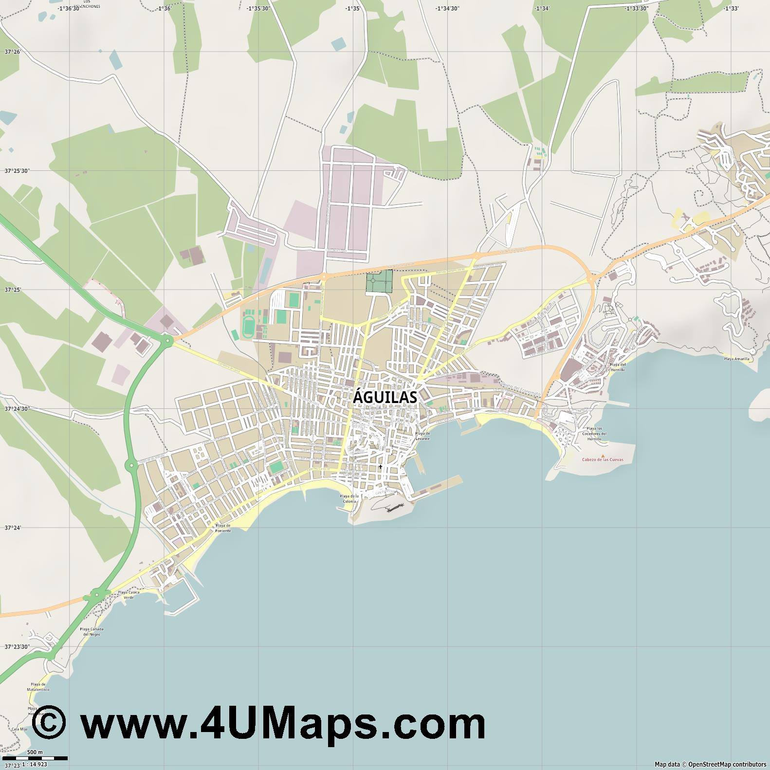 Águilas  jpg ultra high detail preview vector city map