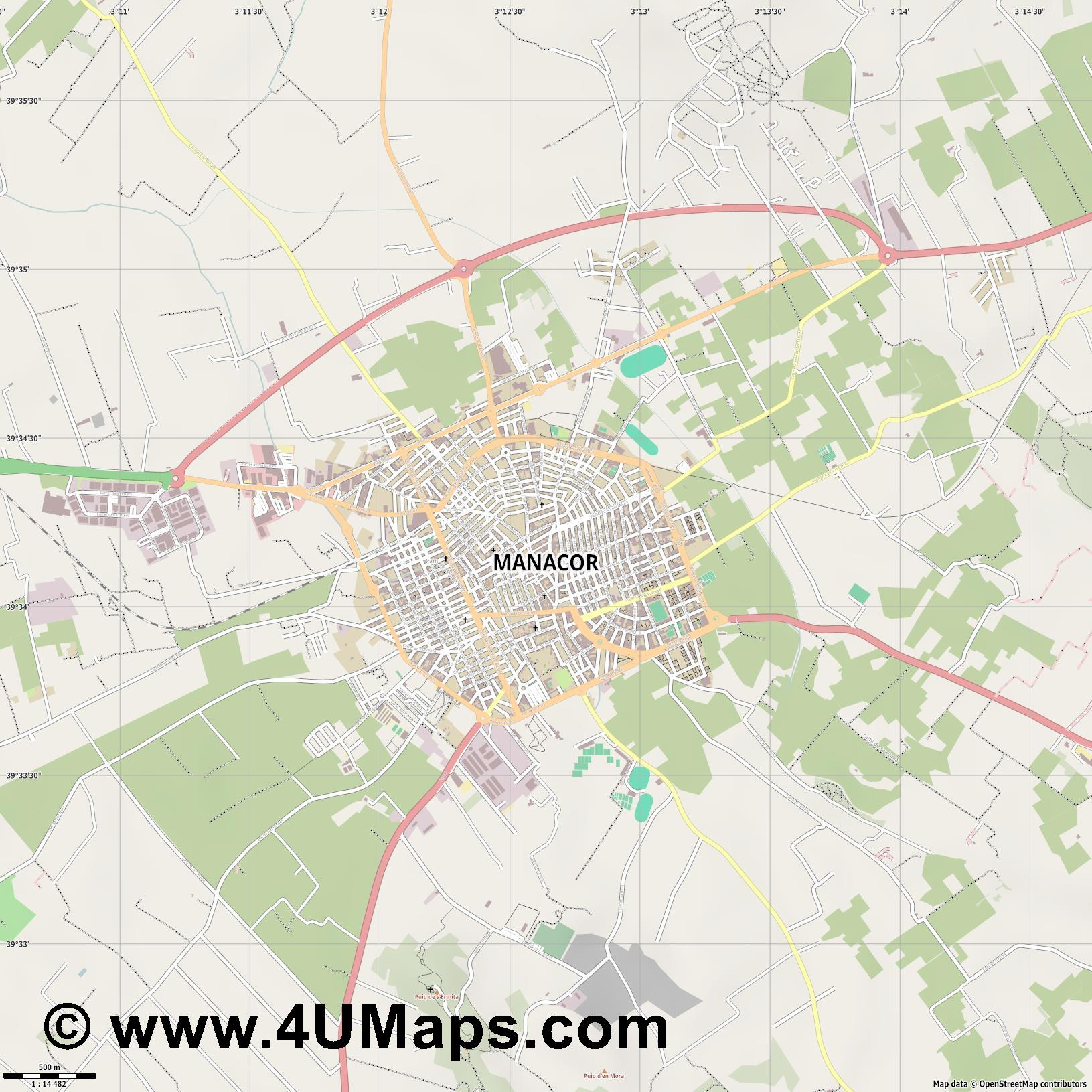 Manacor  jpg ultra high detail preview vector city map