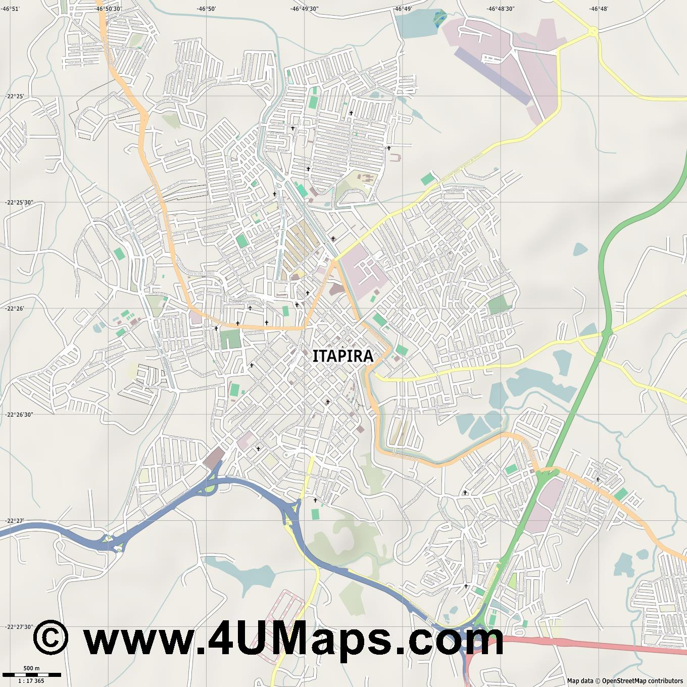 Itapira  jpg ultra high detail preview vector city map