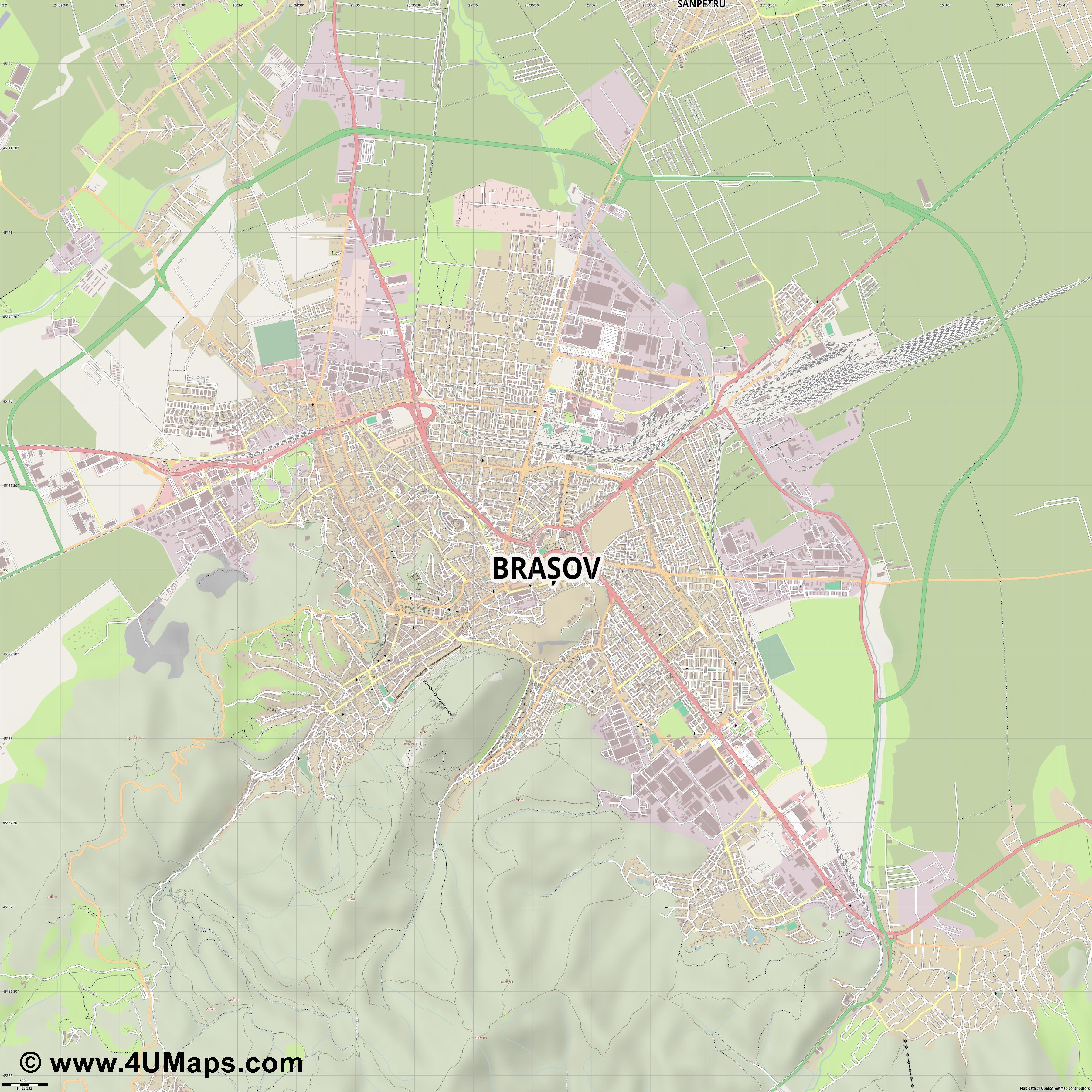 Brașov Brasov Kronstadt  jpg ultra high detail preview vector city map