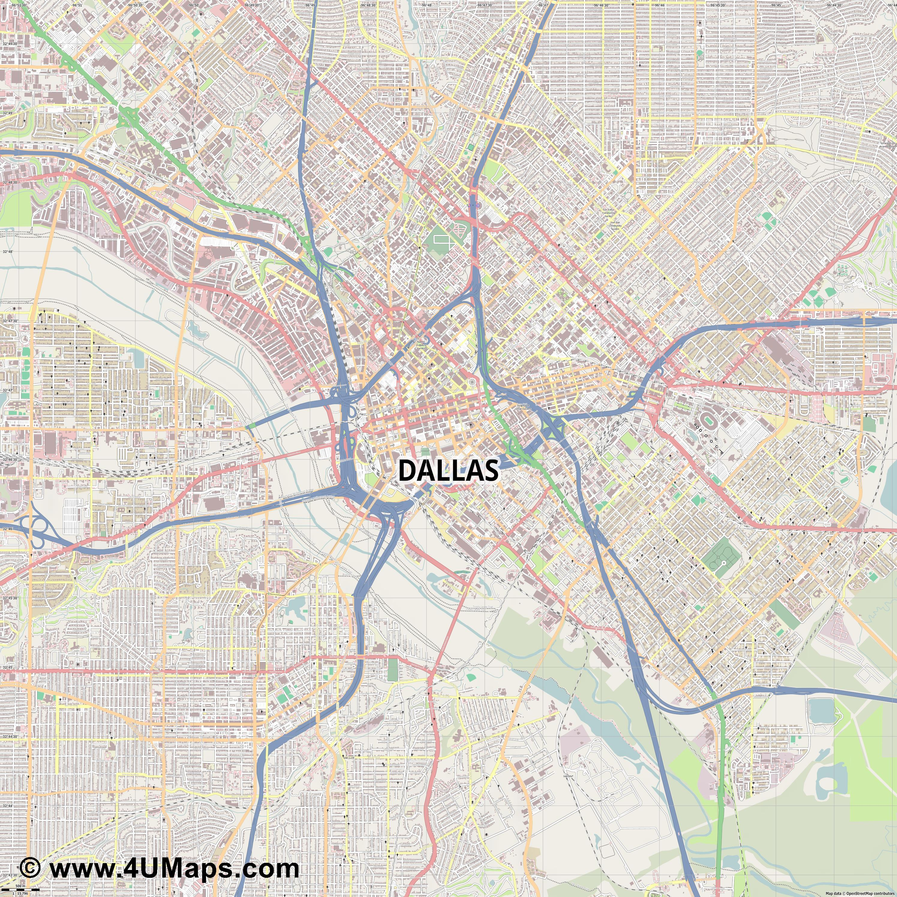 Dallas  jpg ultra high detail preview vector city map