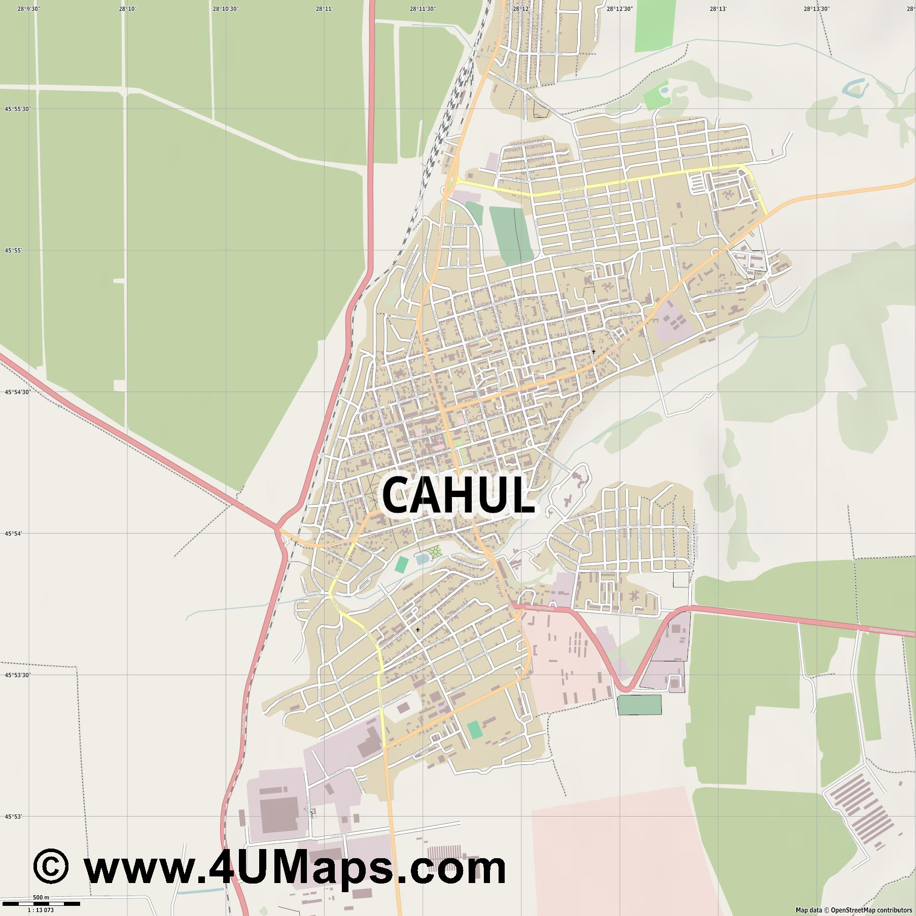 Cahul  jpg ultra high detail preview vector city map