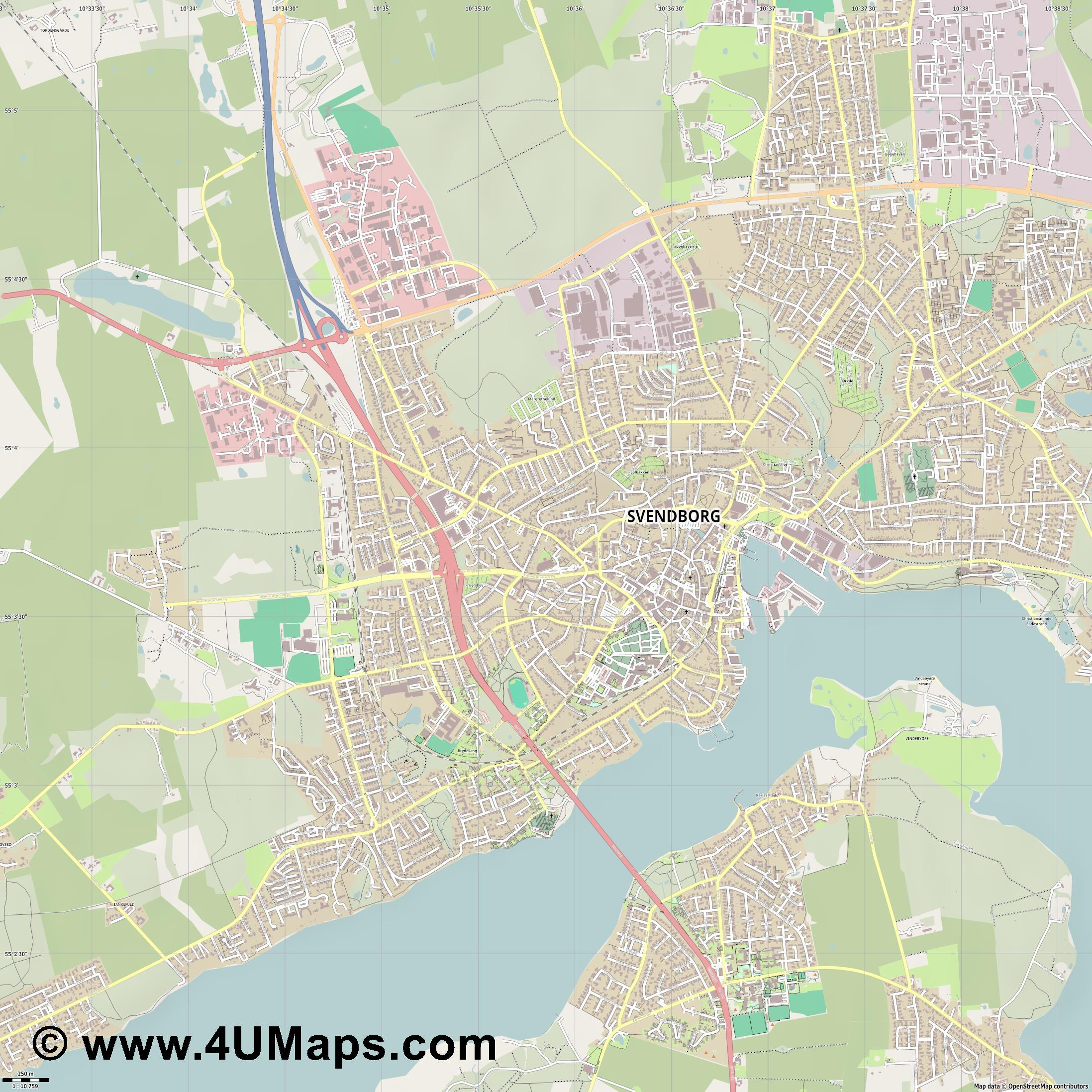 Svendborg Schwenburg  jpg ultra high detail preview vector city map
