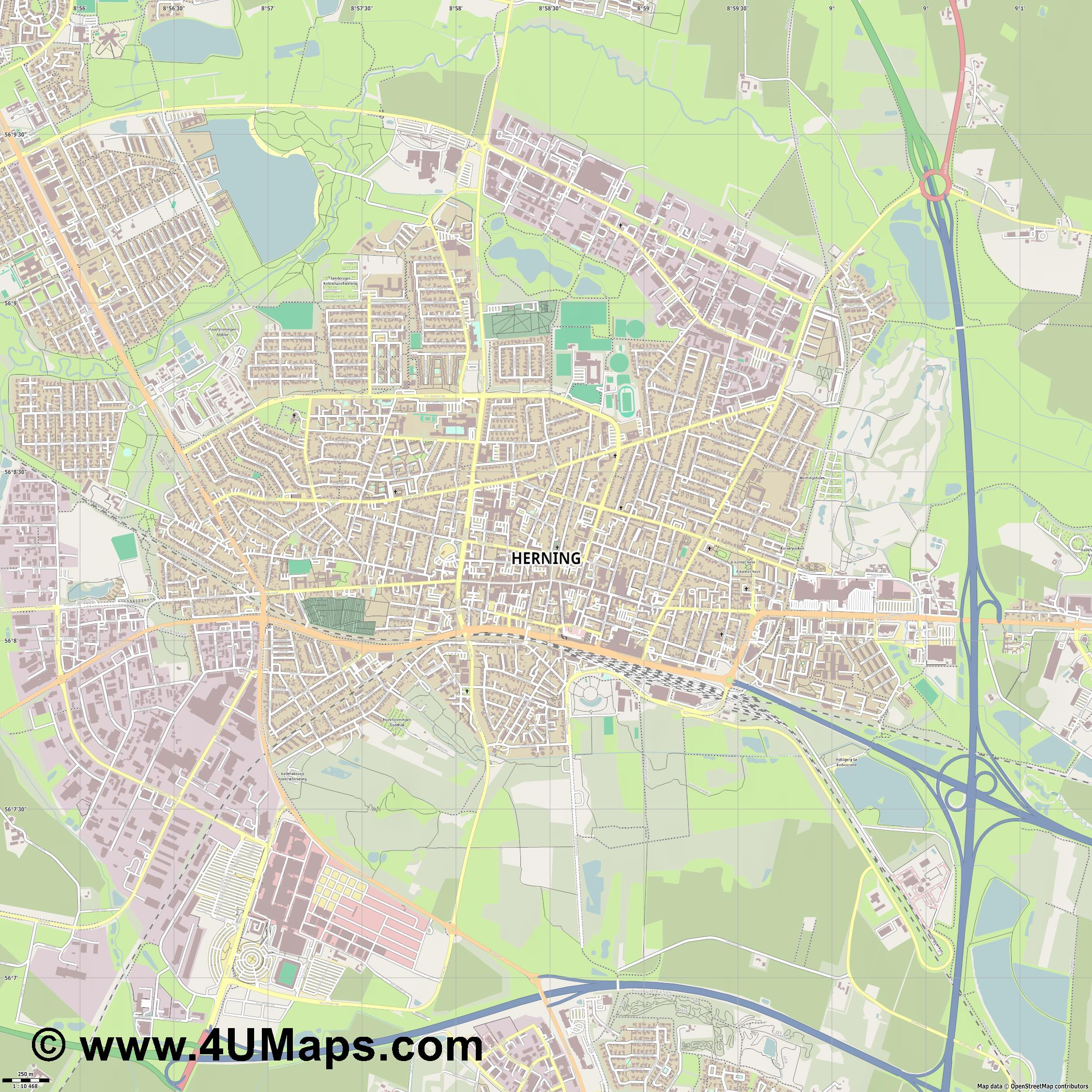 Herning  jpg ultra high detail preview vector city map