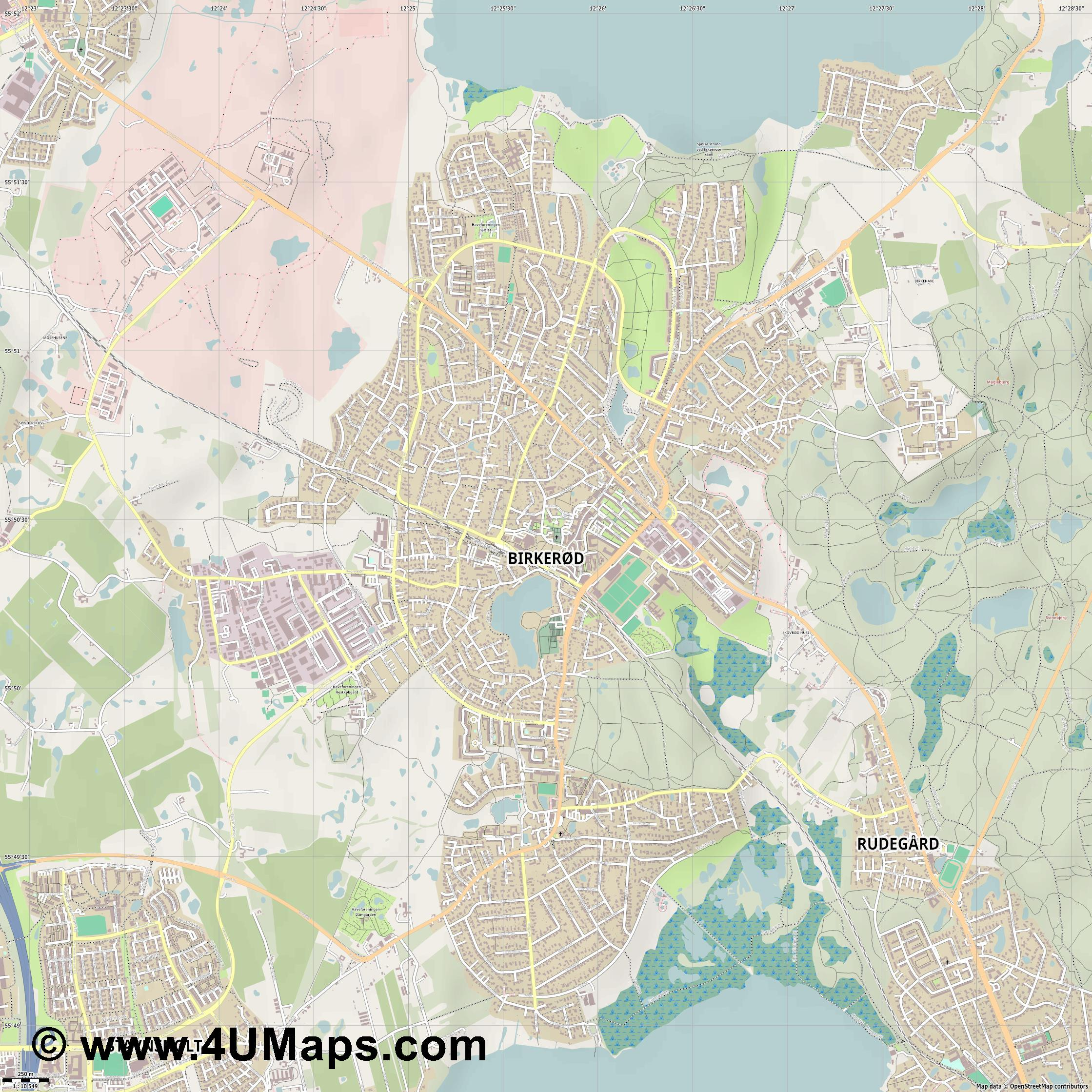 Birkerød Birkeröd  jpg ultra high detail preview vector city map