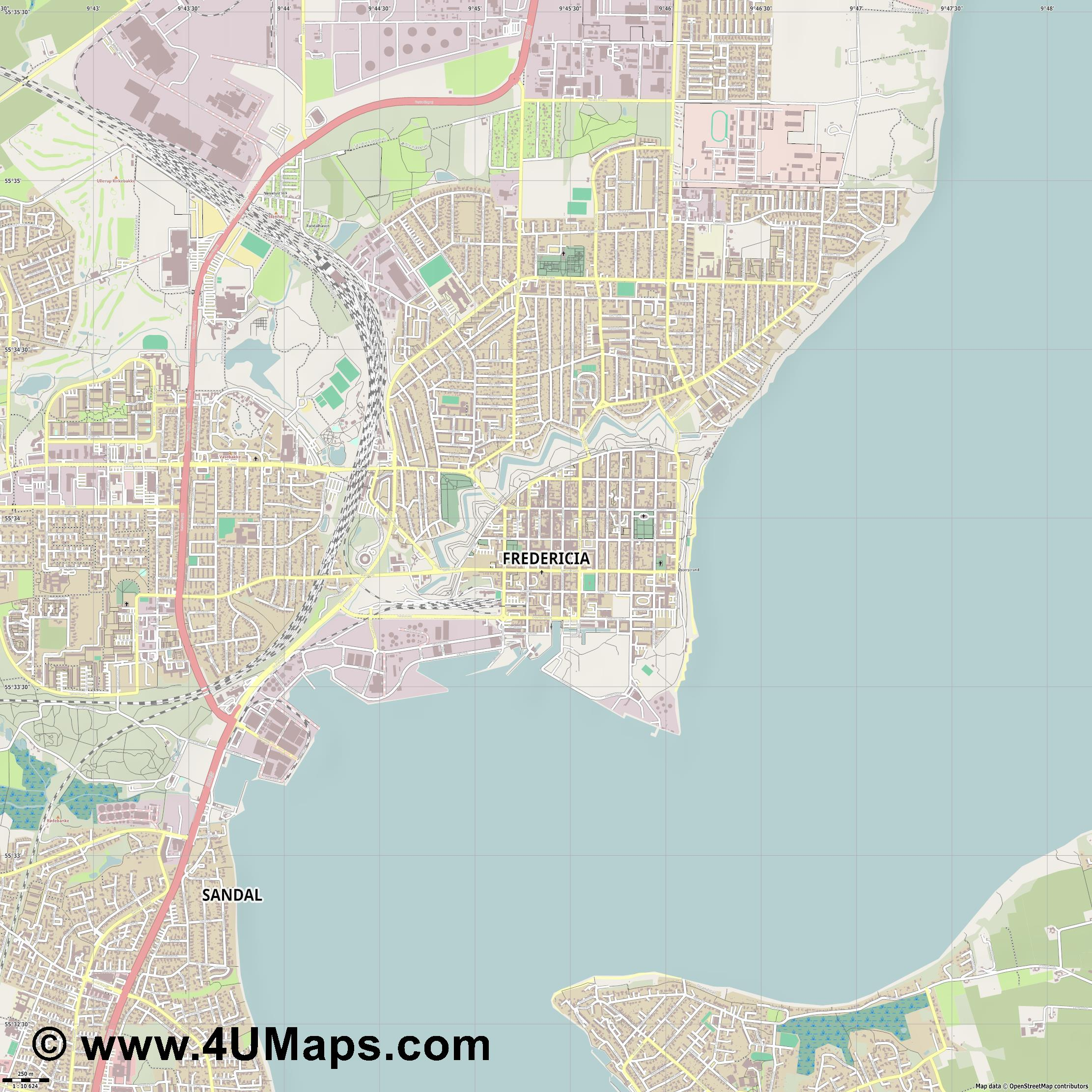 Fredericia  jpg ultra high detail preview vector city map