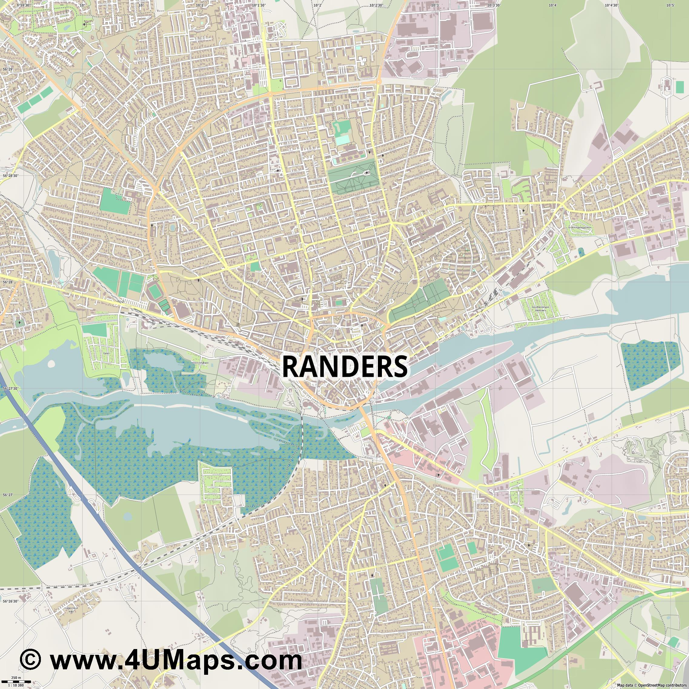 Randers  jpg ultra high detail preview vector city map