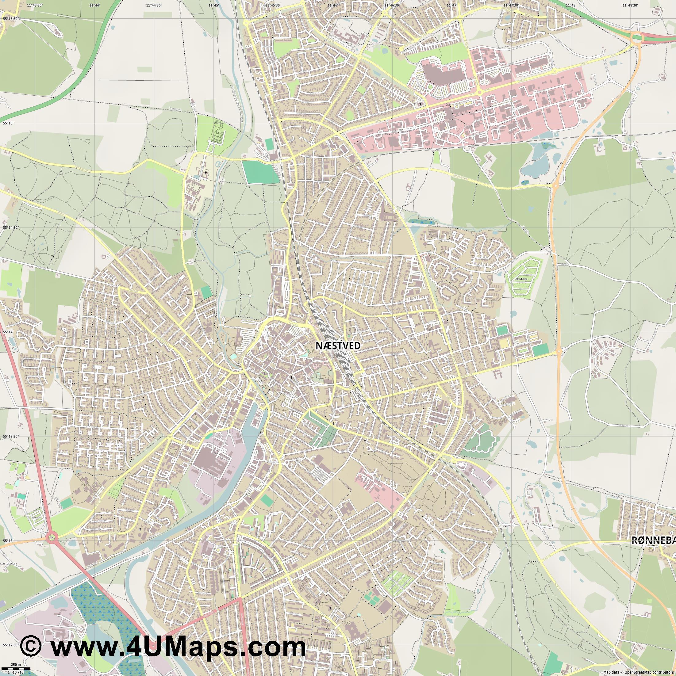 PDF, Svg Scalable Vector City Map Næstved