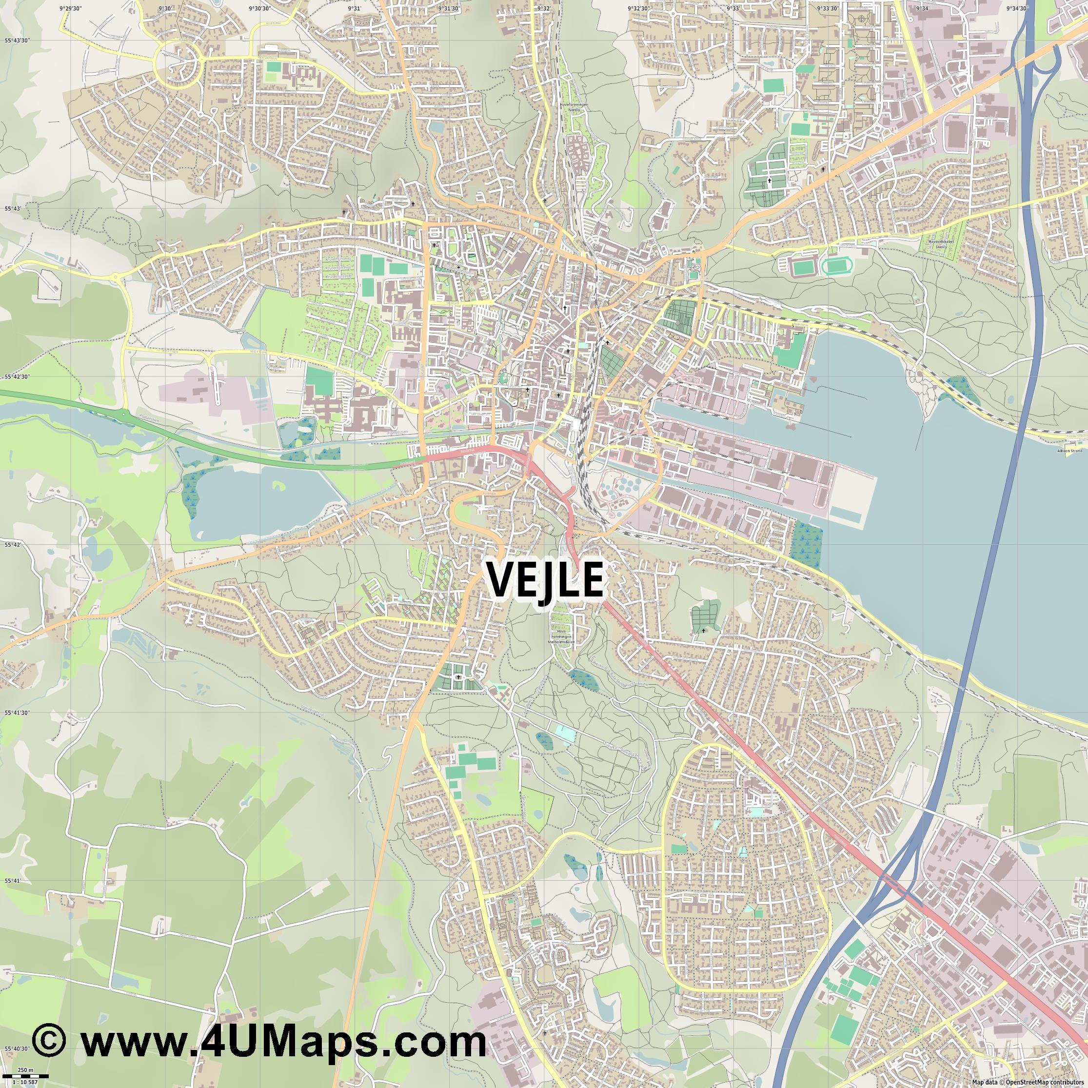 Vejle  jpg ultra high detail preview vector city map