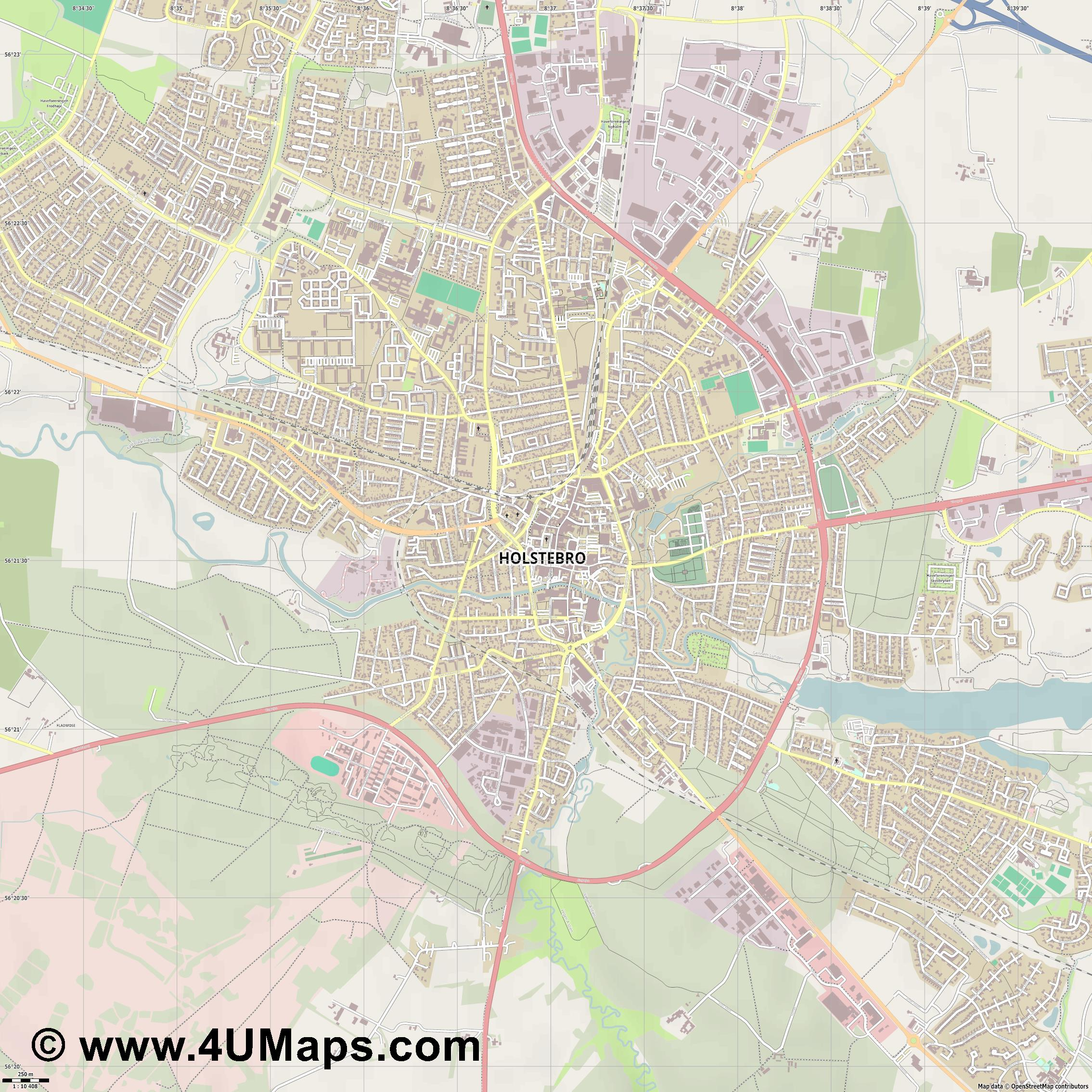 Holstebro  jpg ultra high detail preview vector city map